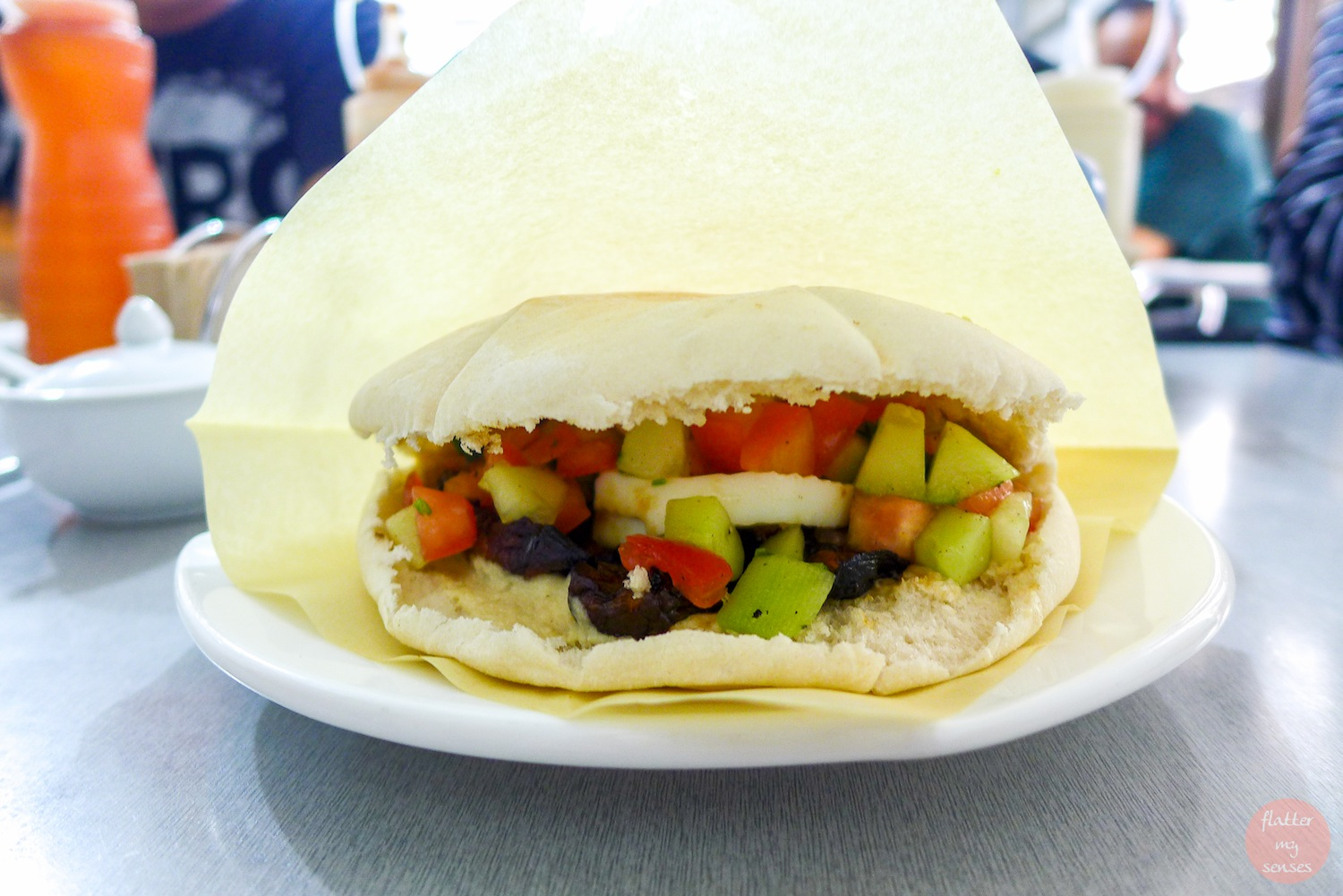 Sabich (Php 165). This includes humus, eggplant, boiled egg andsalad in there.