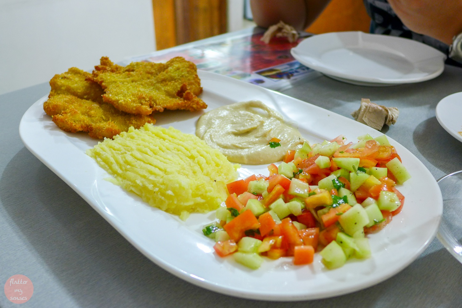Shnitzel with mashed potato (Php 280). You can also get this meal with rice, fries or inside a pita.
