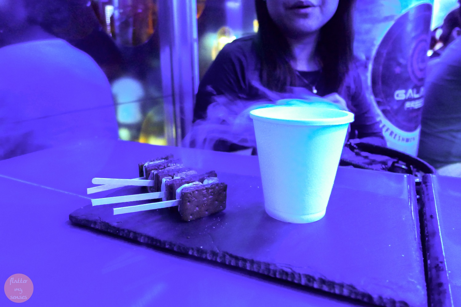 4 pieces ofSmores (Php 68) accompanied by a smokey glass of Liquid Nitrogen