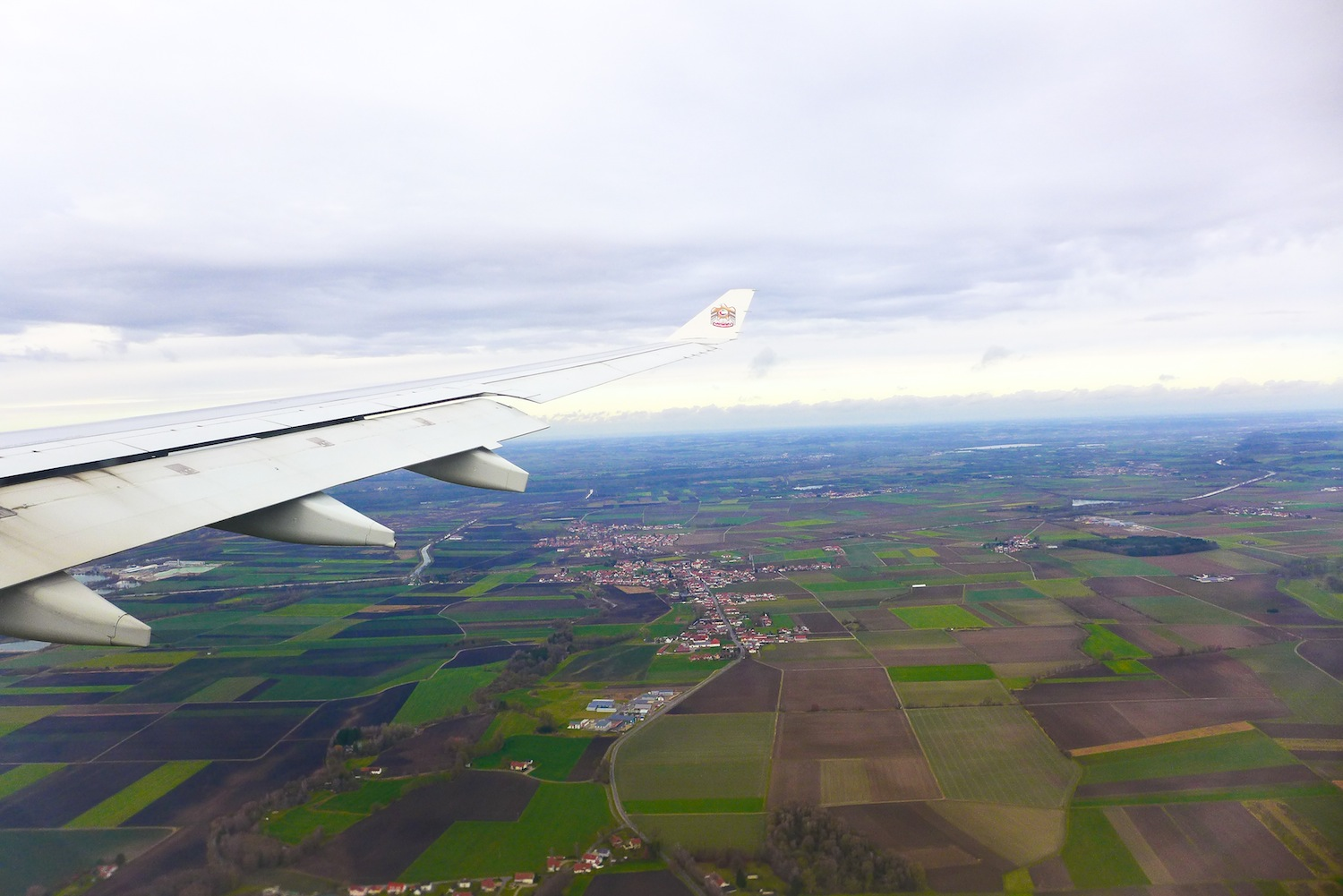 Getting ready for landing. A magnificent view from above while we were descending towards Munich.