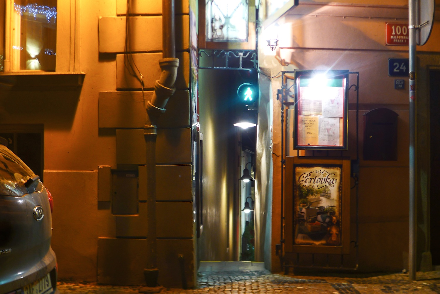 This stoplight along the narrowest alley in Prague is a must-see and must-try!
