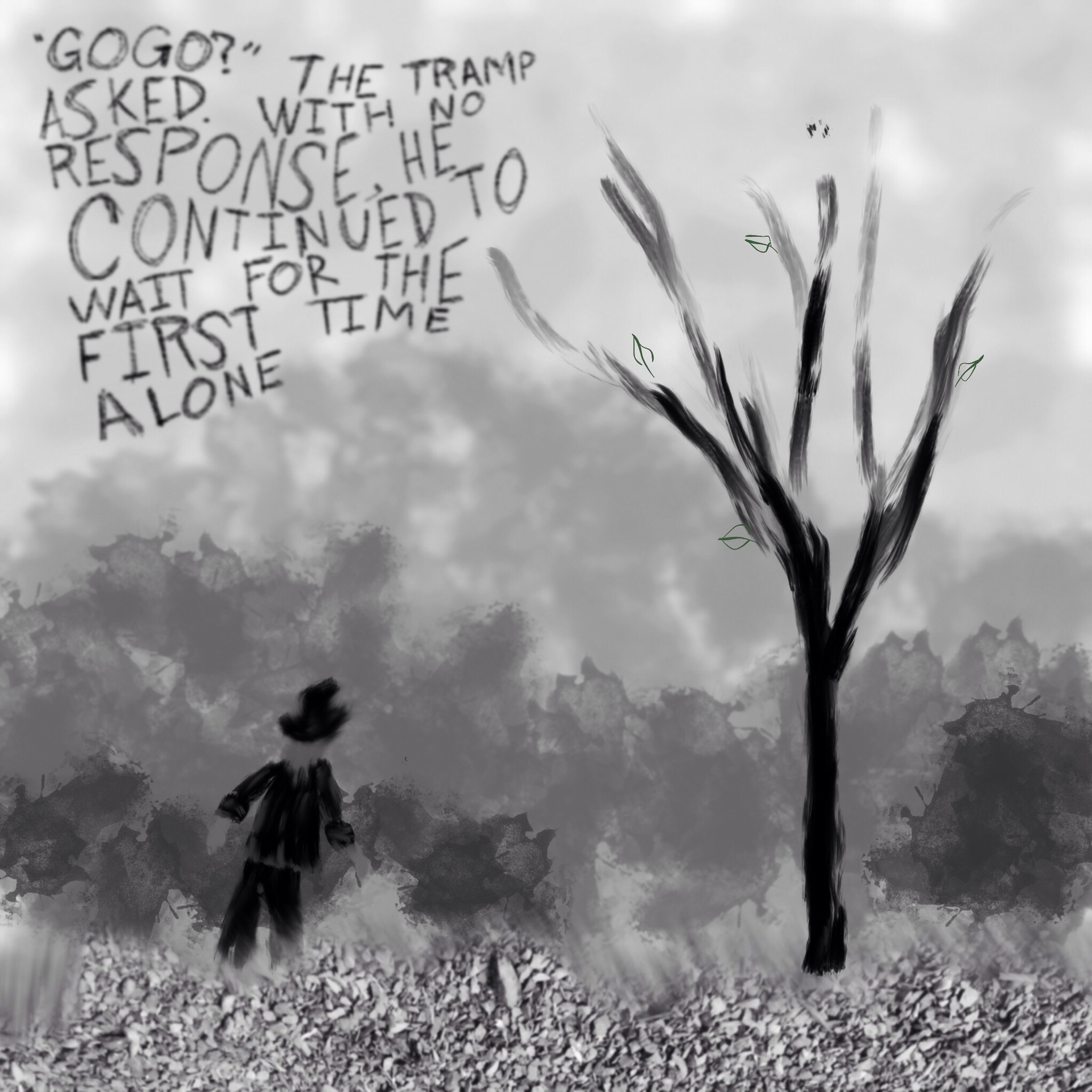 """""""Gogo?"""" The tramp asked. With no response, he continued to wait for the first time alone."""
