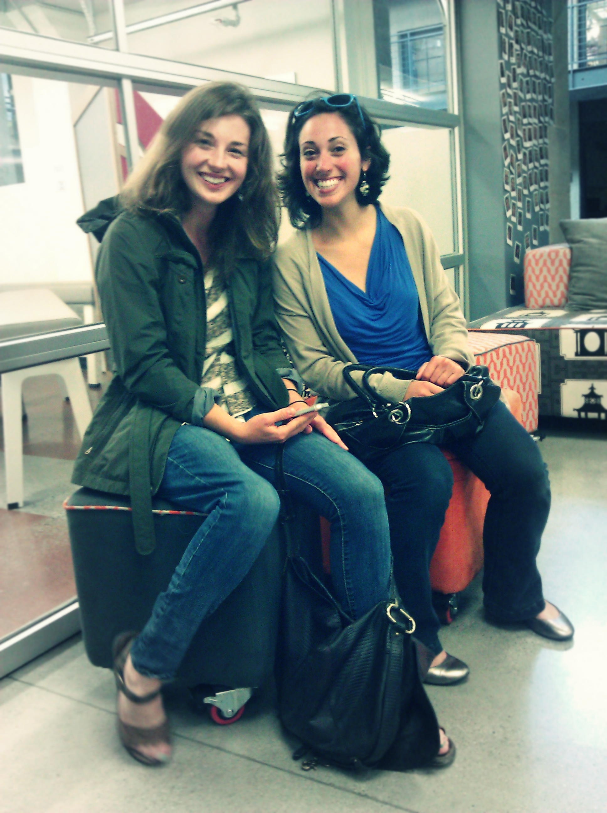 Libby Falck, Director of City X Project, and Kate Ganim, KIDmob Co-Director, touring the Stanford d.school for Friendship Month