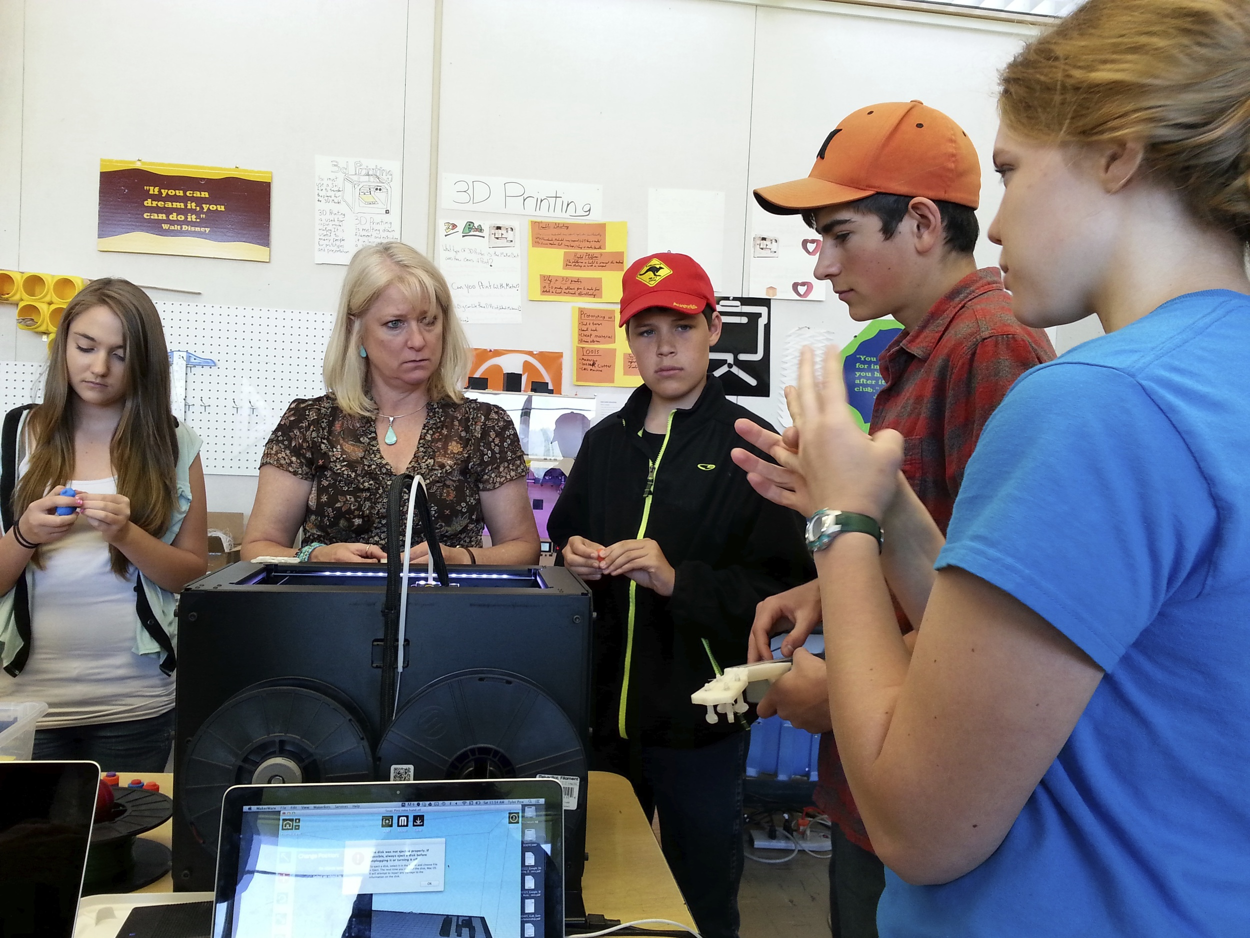 Teachers and students learn, side-by-side, about 3D printing
