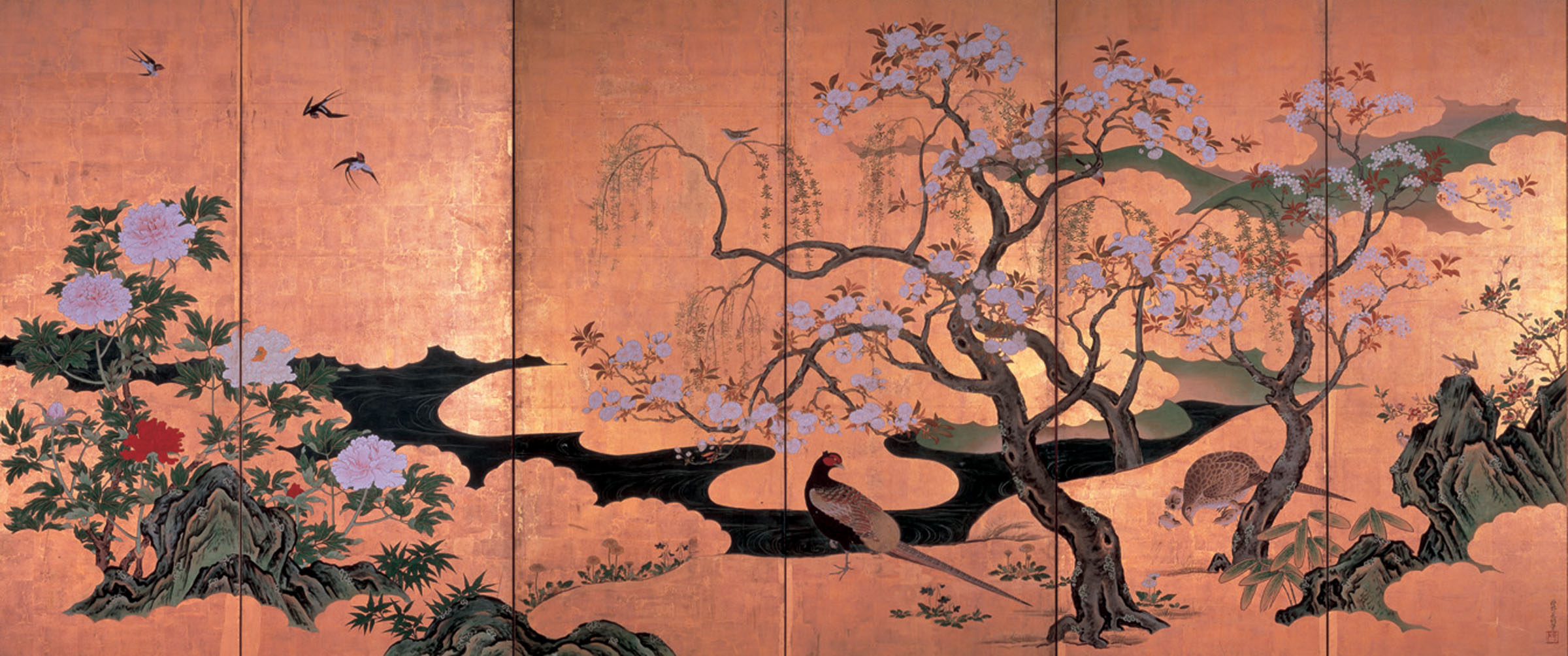 'Birds and Flowers of Spring and Summer' by Kano Eino Suntory Museum of Art