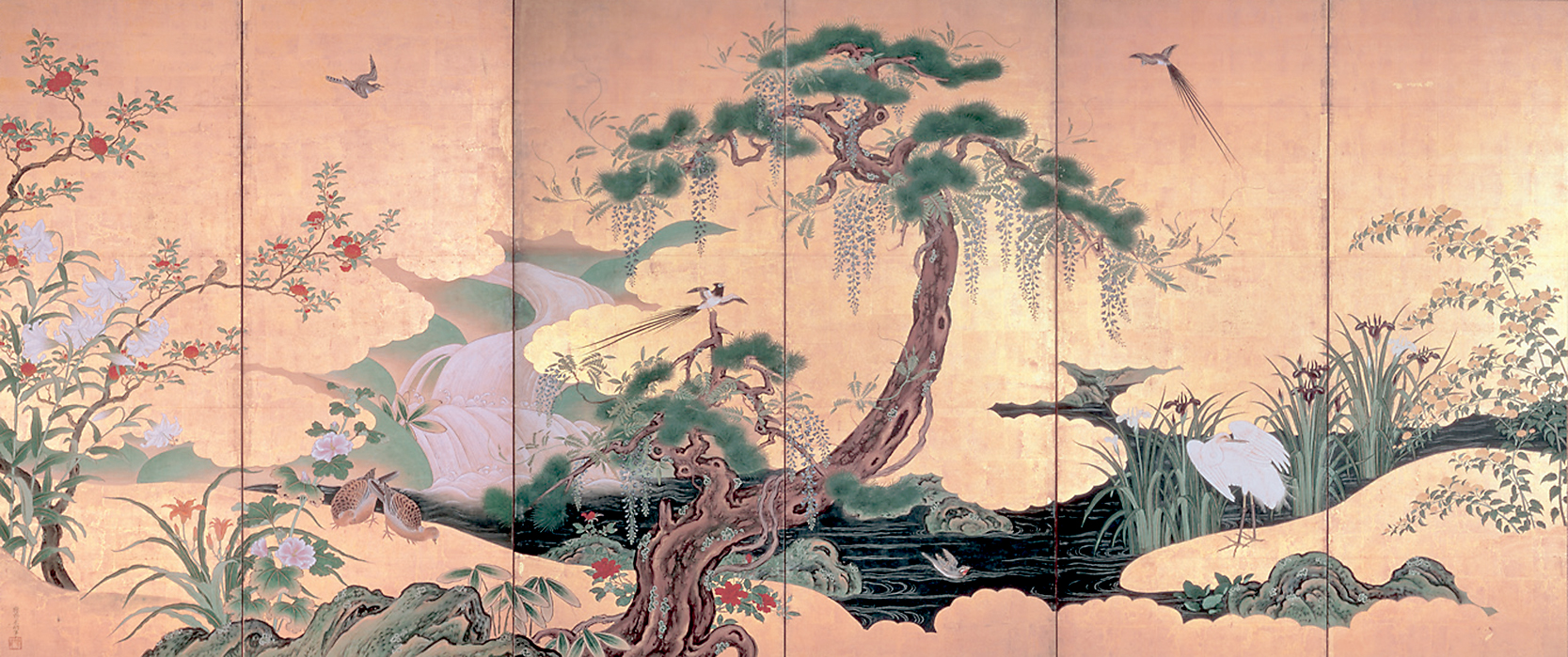 'Birds and Flowers of Spring and Summer', one of a pair of six-fold screens by Kano Eino (Edo Period)   Suntory Museum of Art.
