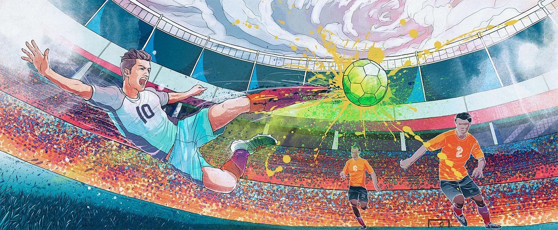 Photoshop Creative Magazine issue 141 soccer inspired ink splatter brush illustration artwork.