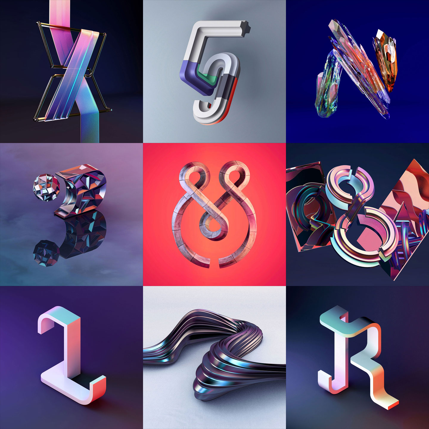 36 Days of Type 2016 - 3D typography selected letters and numbers by Singapore based brand strategy and creative design consultancy, BÜRO UFHO.