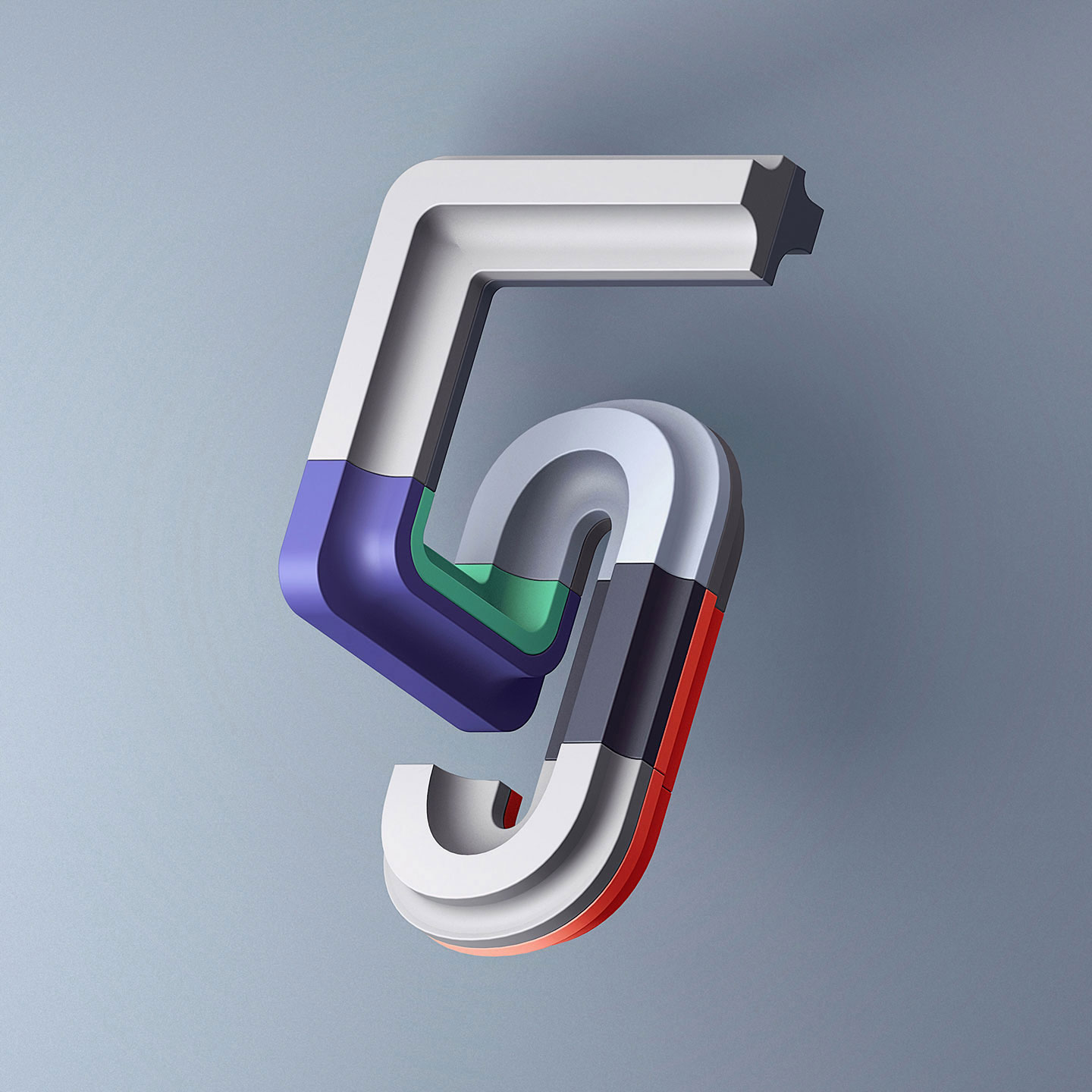 36 Days of Type 2016 - 3D typography number 5 visual.