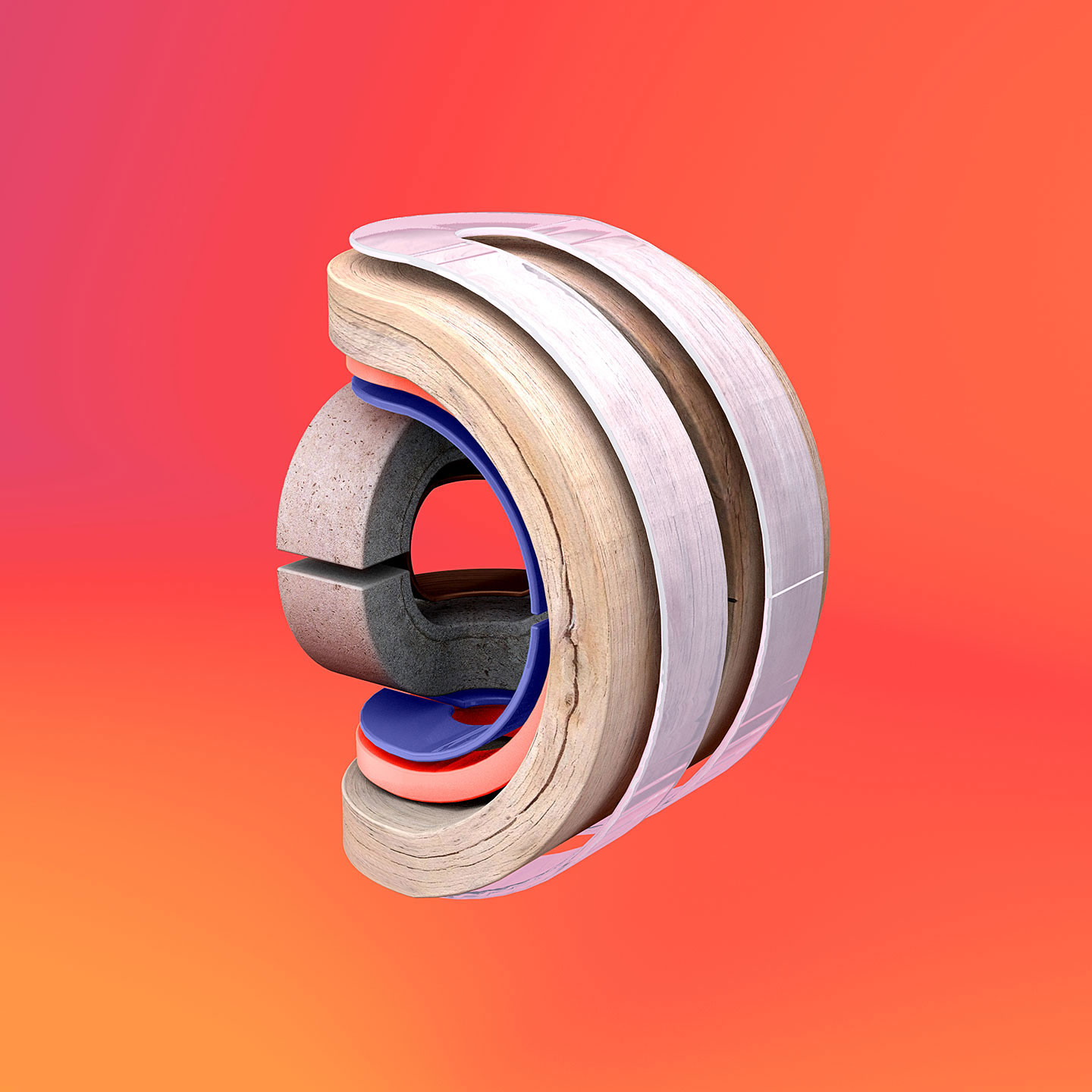 36 Days of Type 2016 - 3D typography letter D visual.
