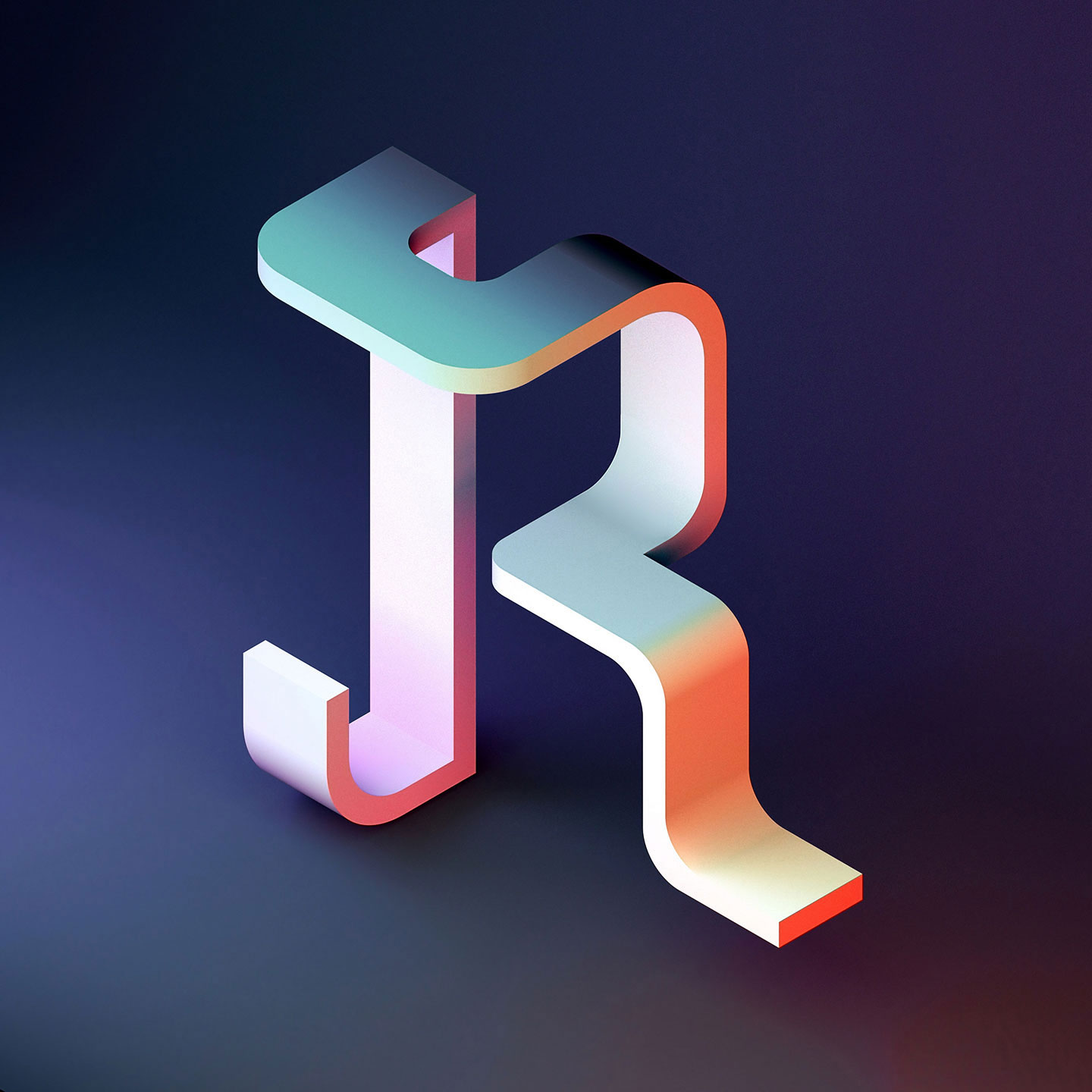 36 Days of Type 2016 - 3D typography letter R visual.