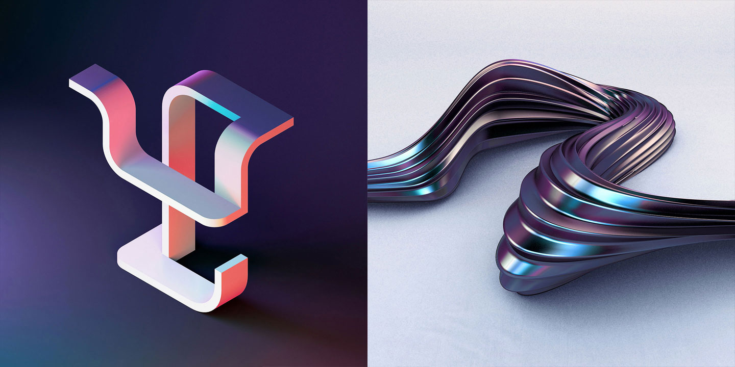 36 Days of Type 2016 - 3D typography letters Y and Z visual.