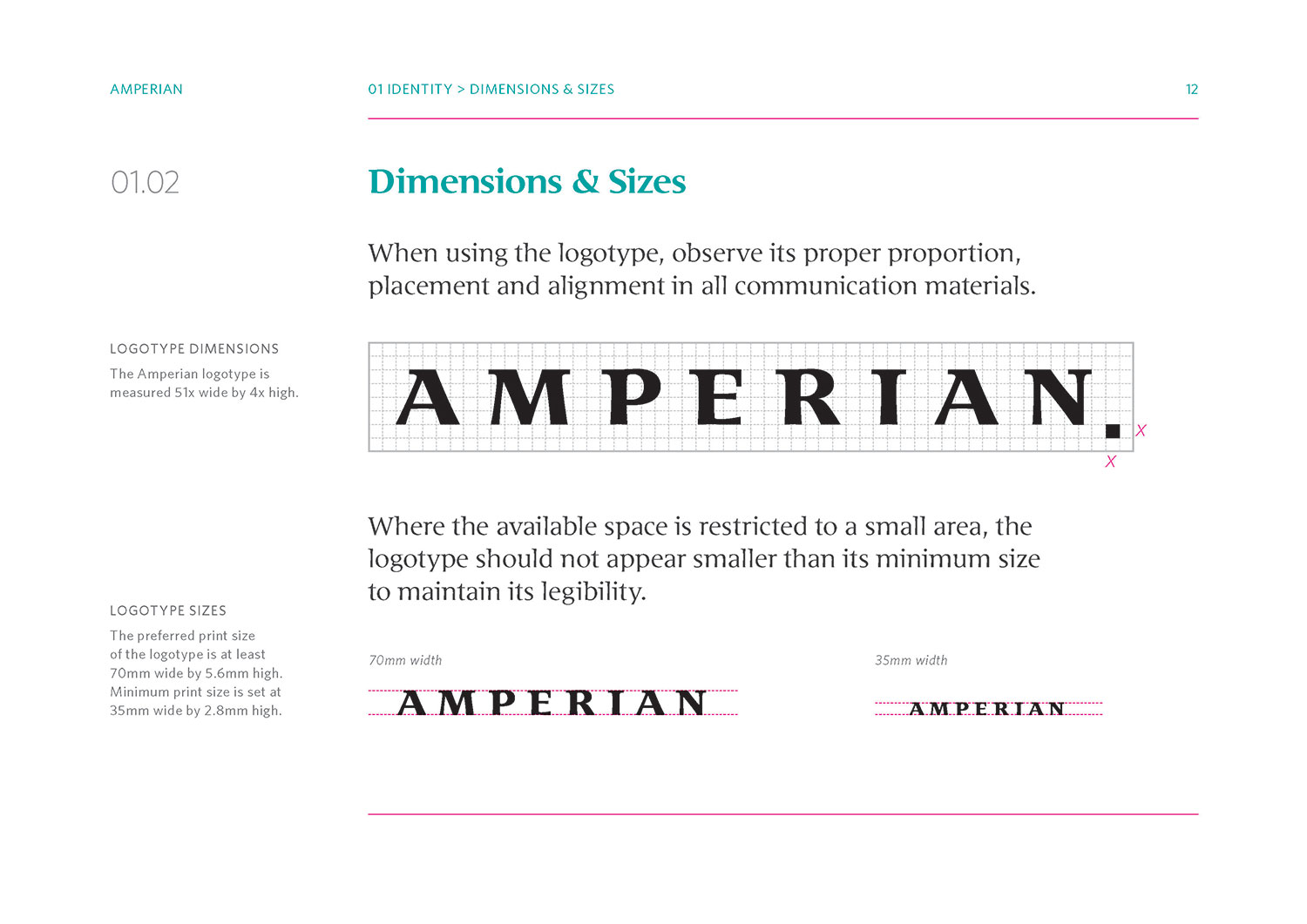 Amperian SG branding corporate identity design guide manual - Dimensions and sizes.