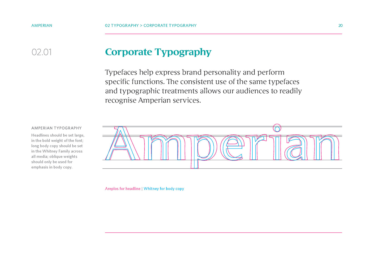 Amperian SG branding corporate identity design guide manual - Corporate Typography.