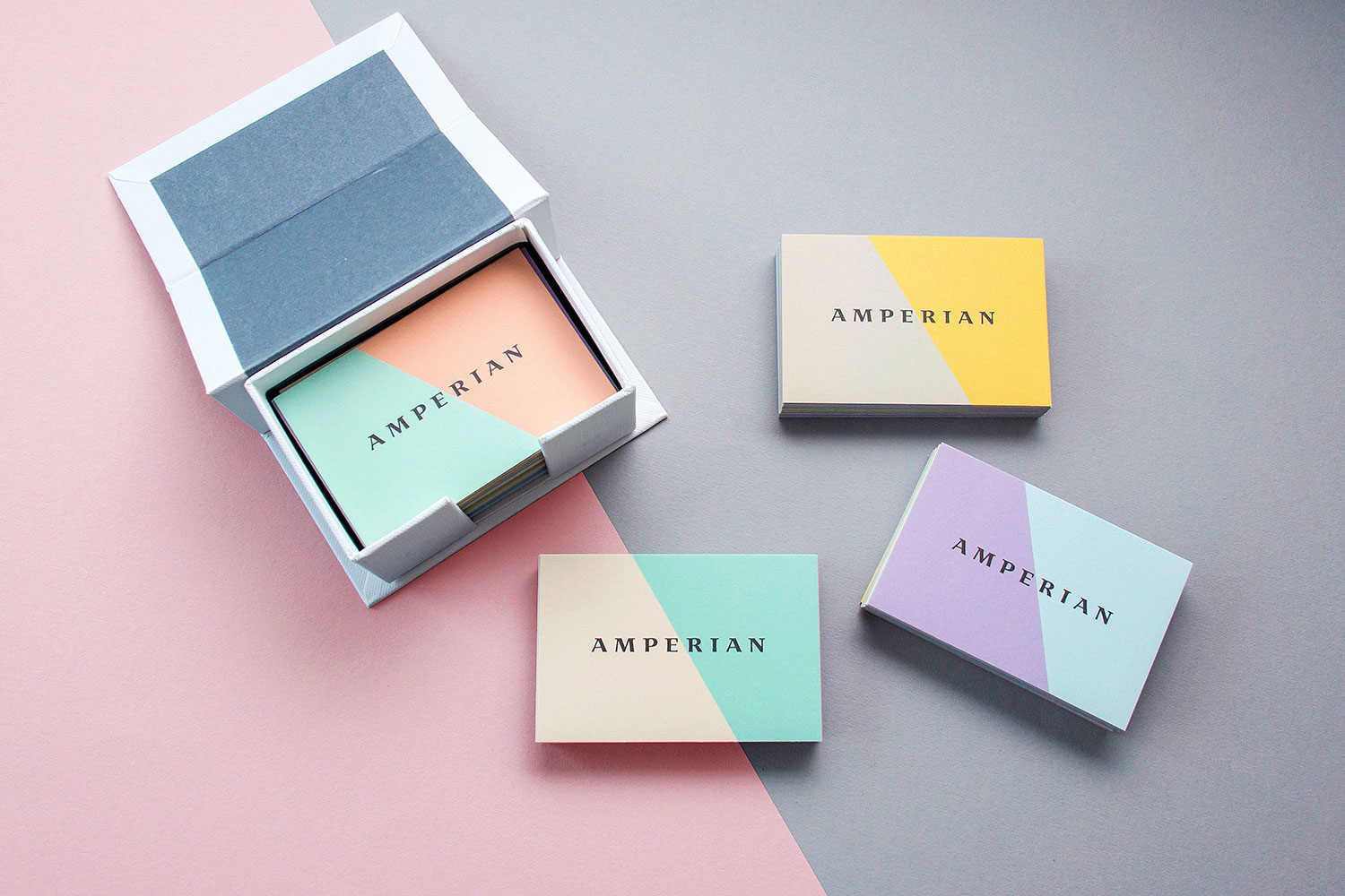 Amperian SG branding corporate identity design - Business cards design by Singapore based brand strategy and creative design consultancy, BÜRO UFHO.
