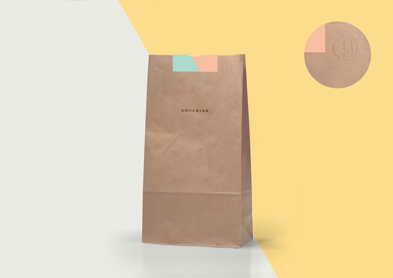 Amperian SG branding corporate identity design - Kraft paper bag with emboss.