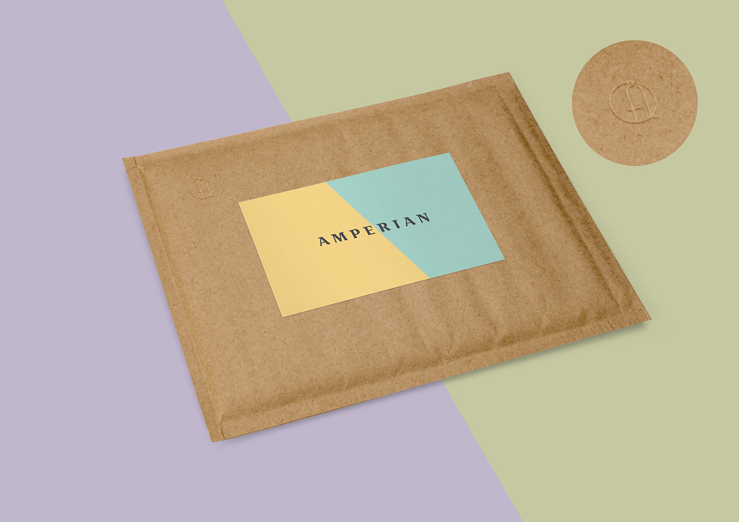 Amperian SG branding corporate identity design - Envelope with emboss.