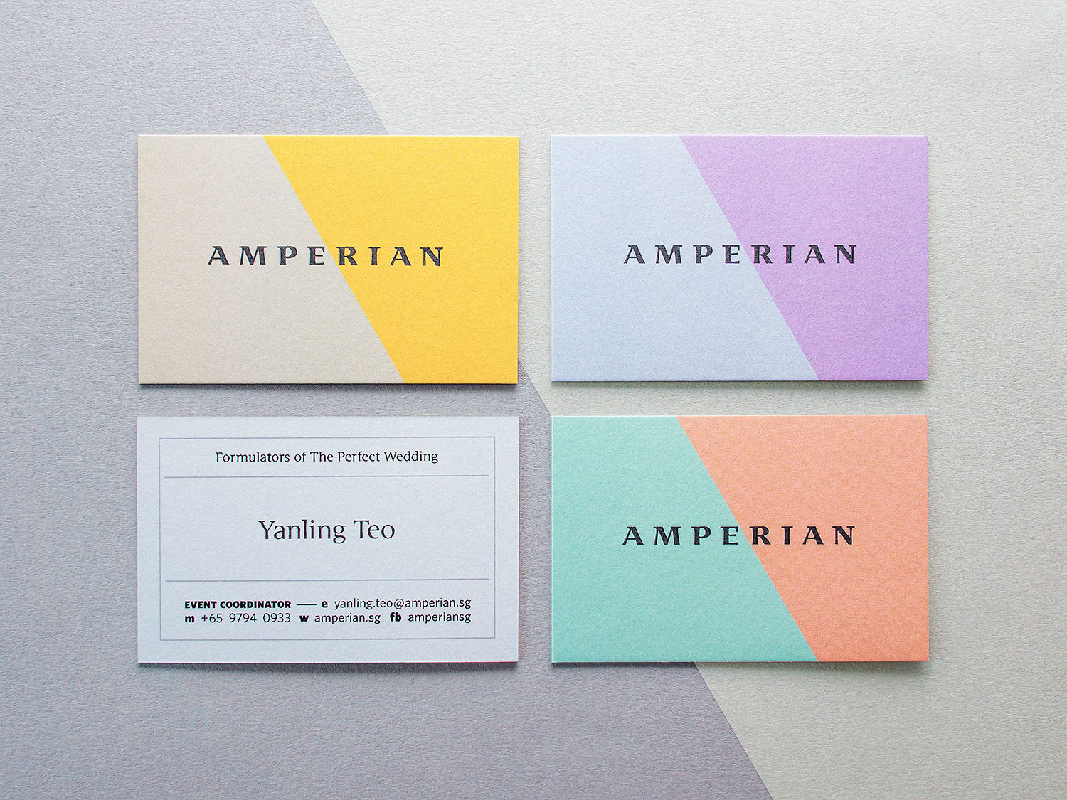 Amperian SG branding corporate identity design - Business cards detail. Photography by BÜRO UFHO.