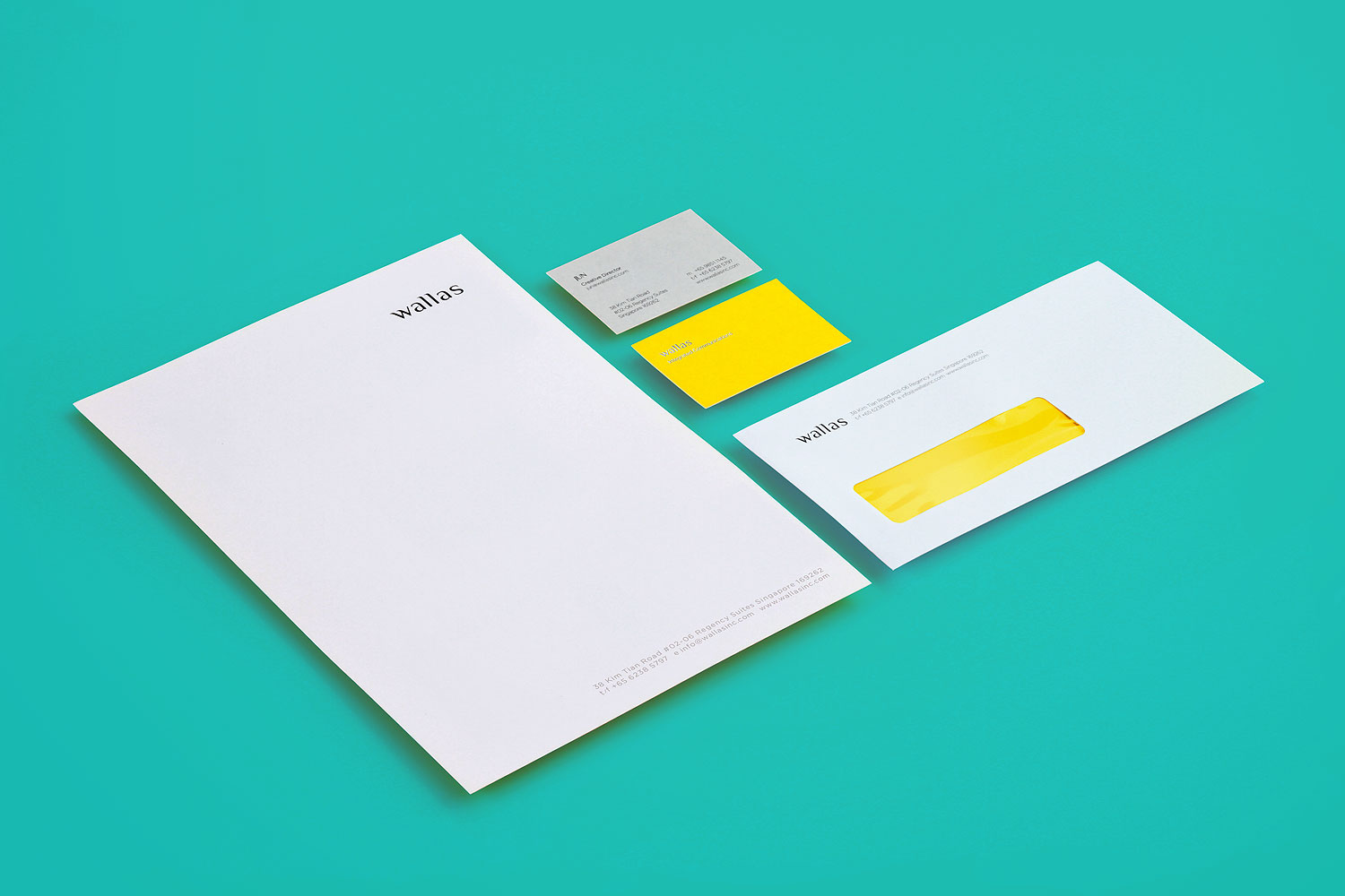 Branding identity design for Wallas Inc, an integrated agency in SG - Corporate identity stationery design by Singapore based brand strategy and creative design consultancy, BÜRO UFHO.