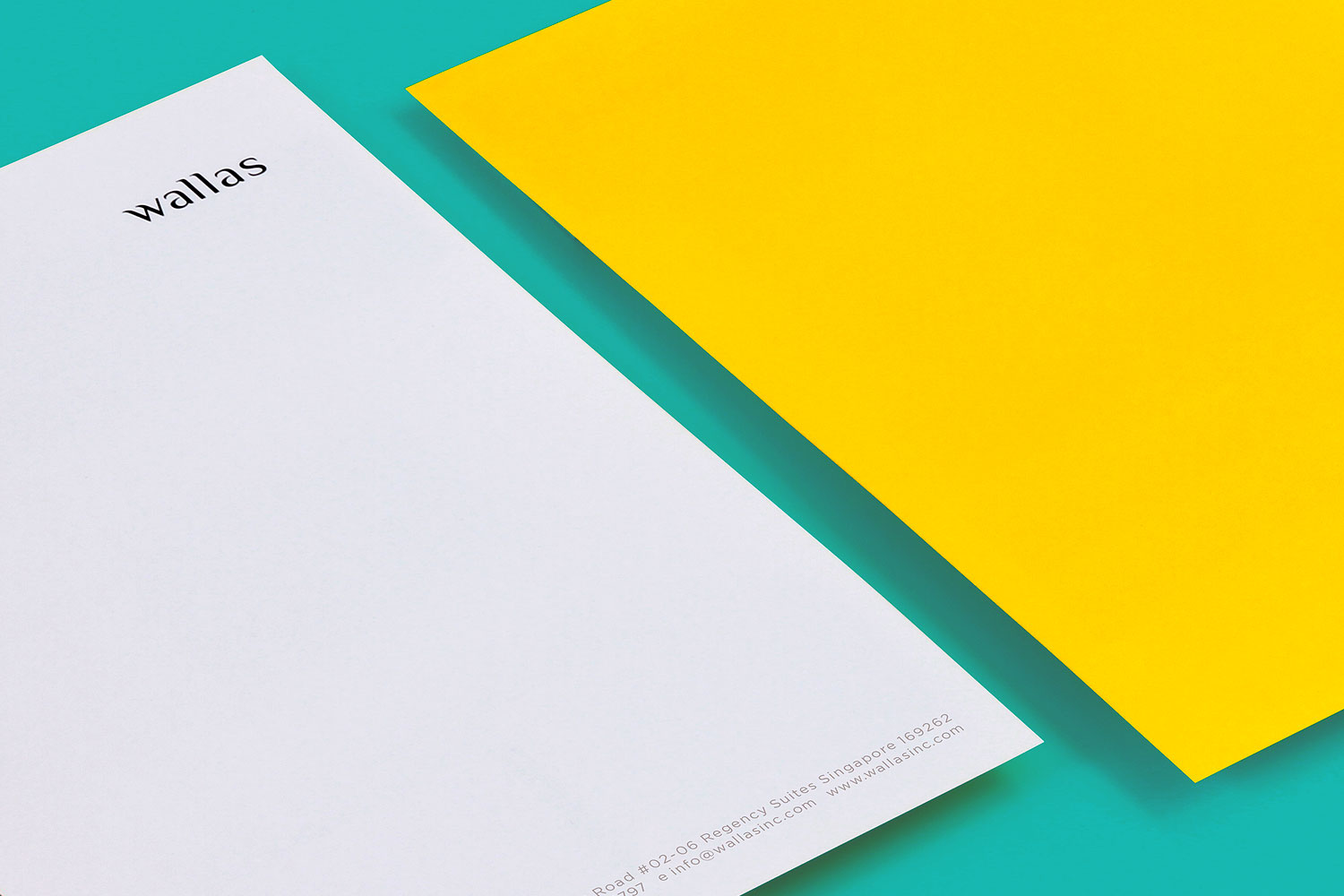 Branding identity design for Wallas Inc, an integrated agency in SG - Corporate identity letterheads design by Singapore based brand strategy and creative design consultancy, BÜRO UFHO.