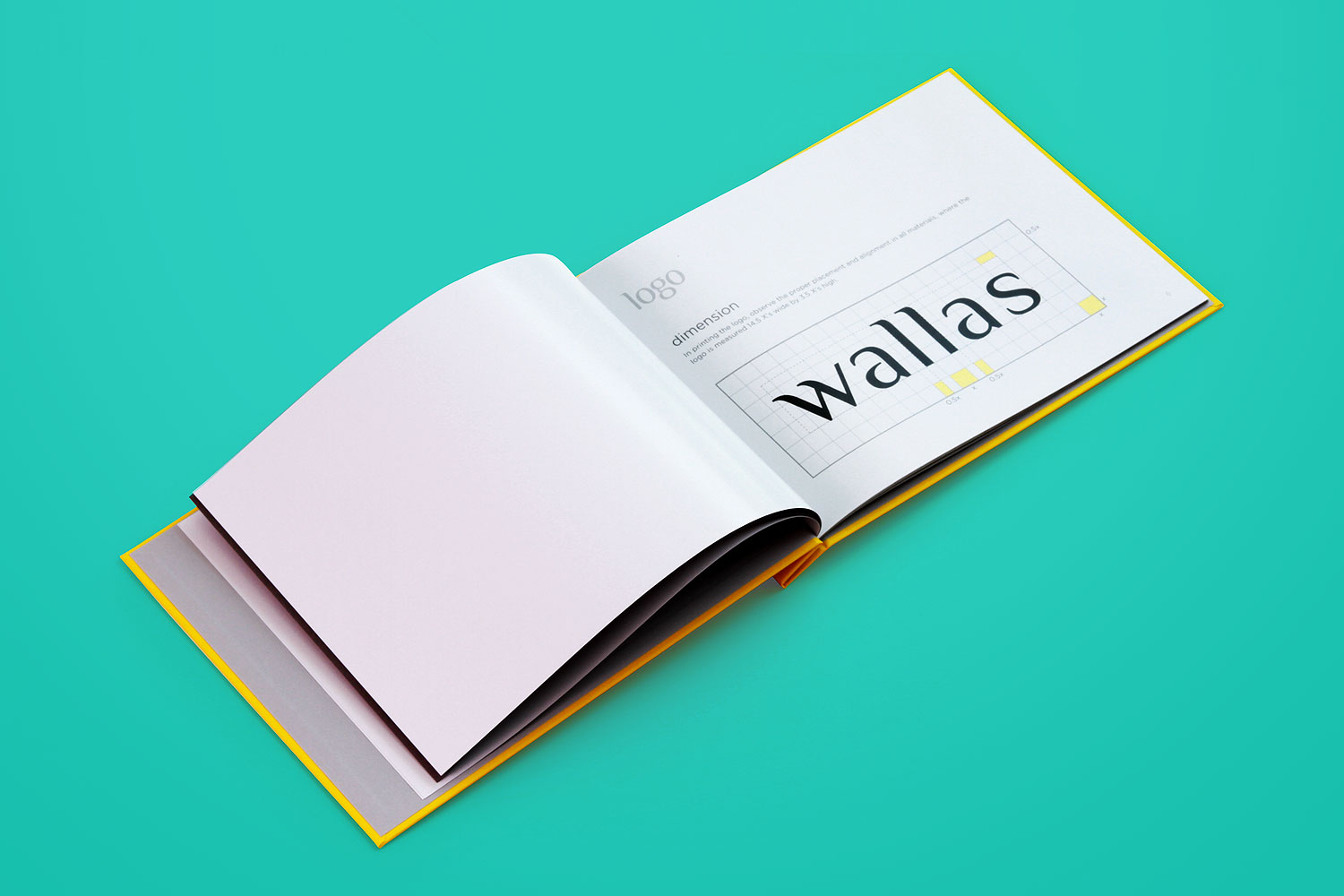 Branding identity design for Wallas Inc, an integrated agency in SG - Corporate identity guide manual - Logo dimensions guide.