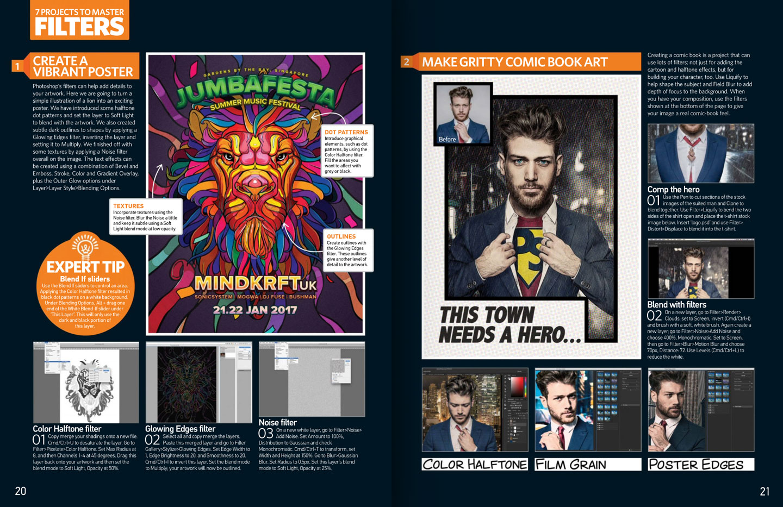 Photoshop Creative Magazine issue 148 Lion confetti illustration spread.