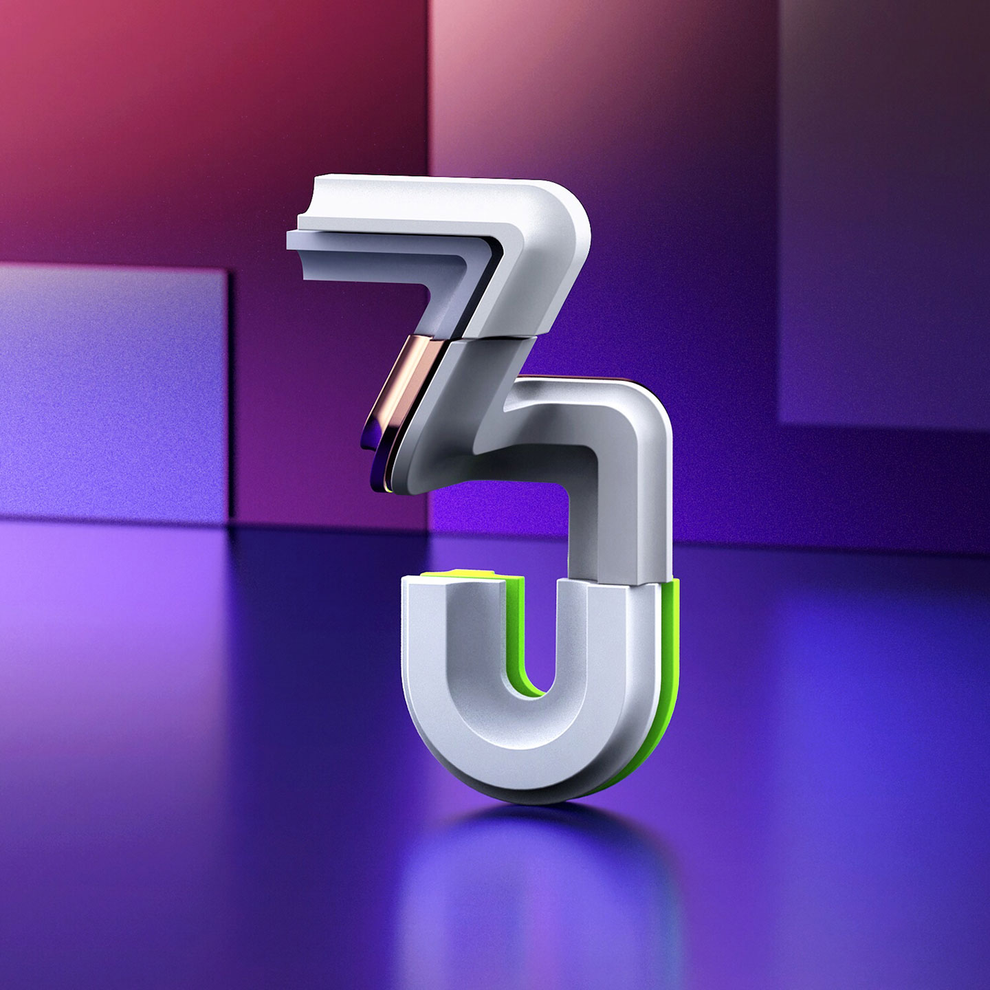 36 Days of Type 2017 - 3D number 3 design visual.