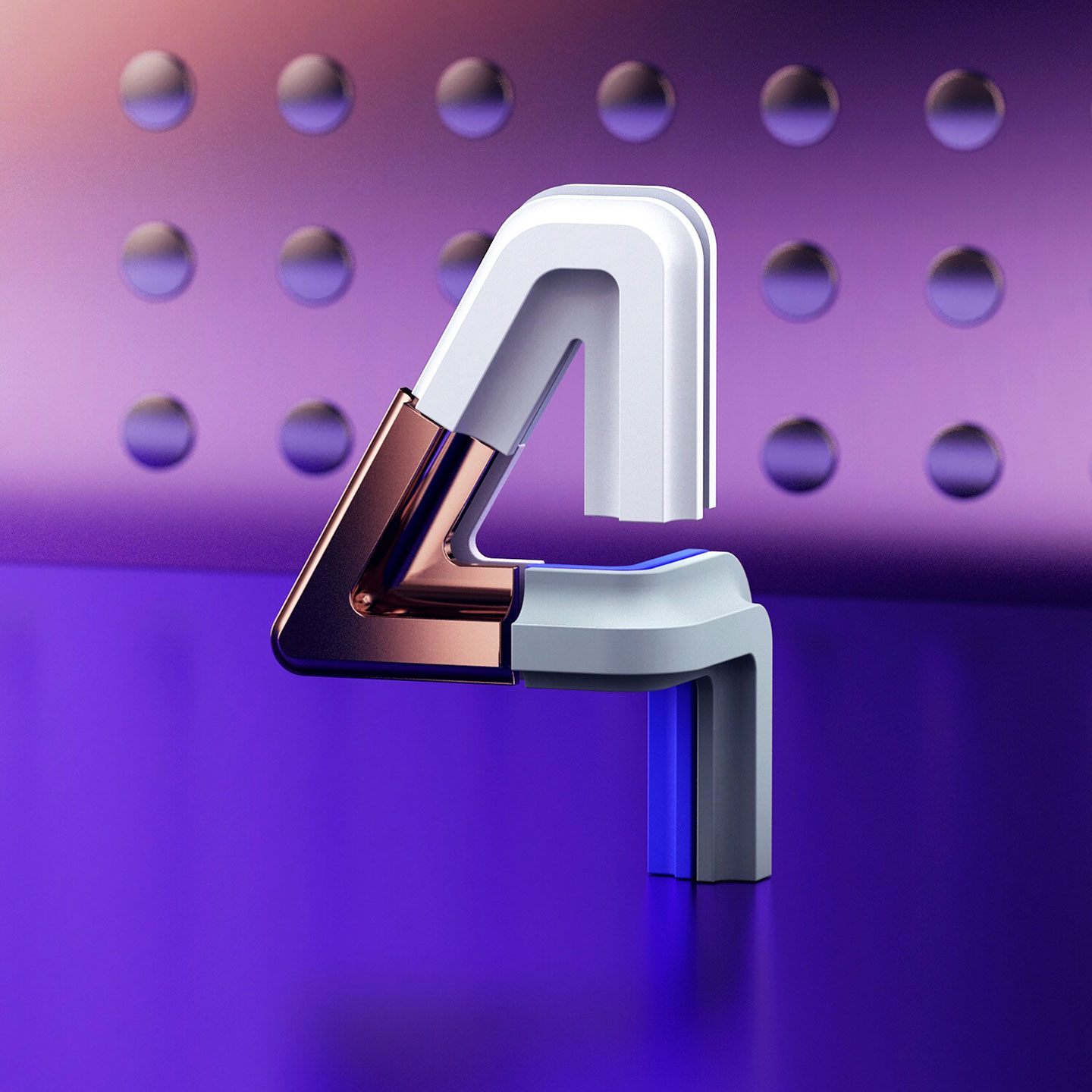 36 Days of Type 2017 - 3D number 4 design visual.