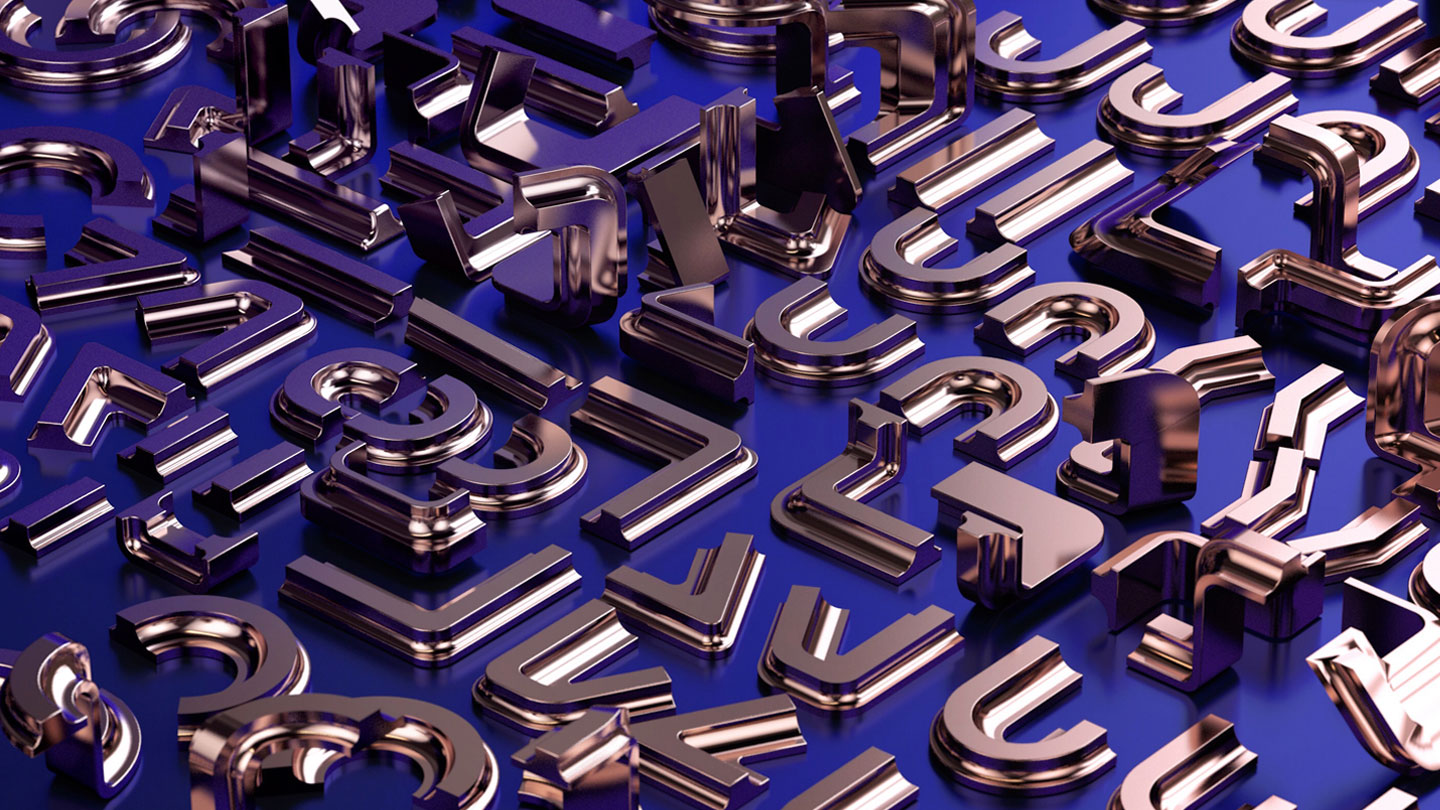 36 Days of Type 2017 - 3D numbers deconstructed visual.