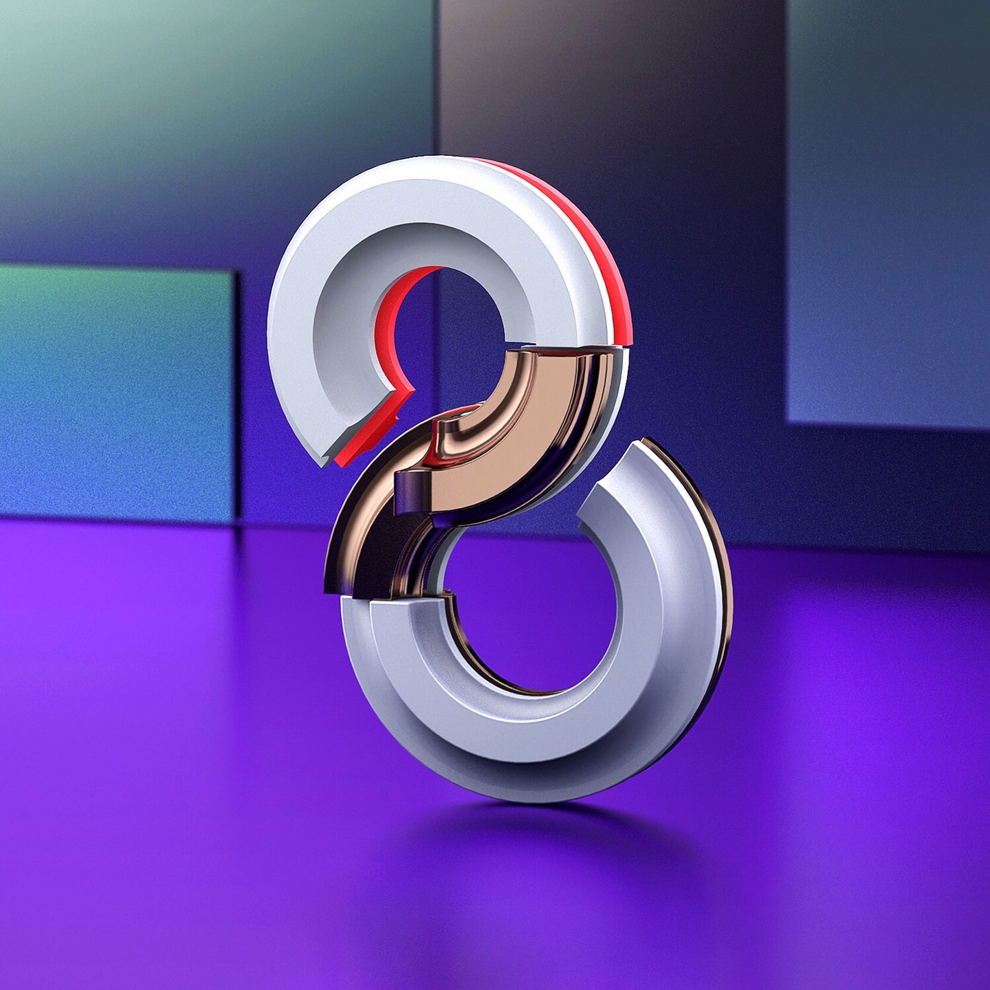 36 Days of Type 2017 - 3D number 8 design visual.
