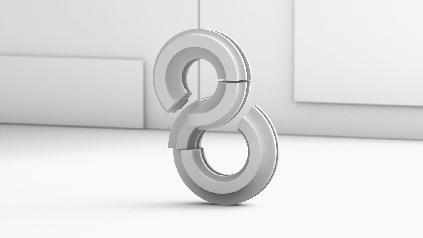 36 Days of Type 2017 - 3D number 8 design wire-frame.