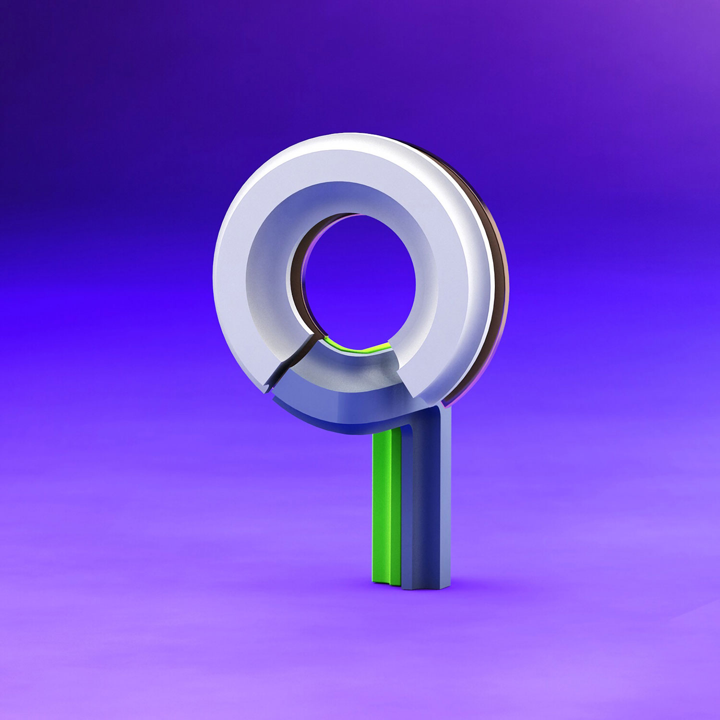 36 Days of Type 2017 - 3D number 9 design visual.