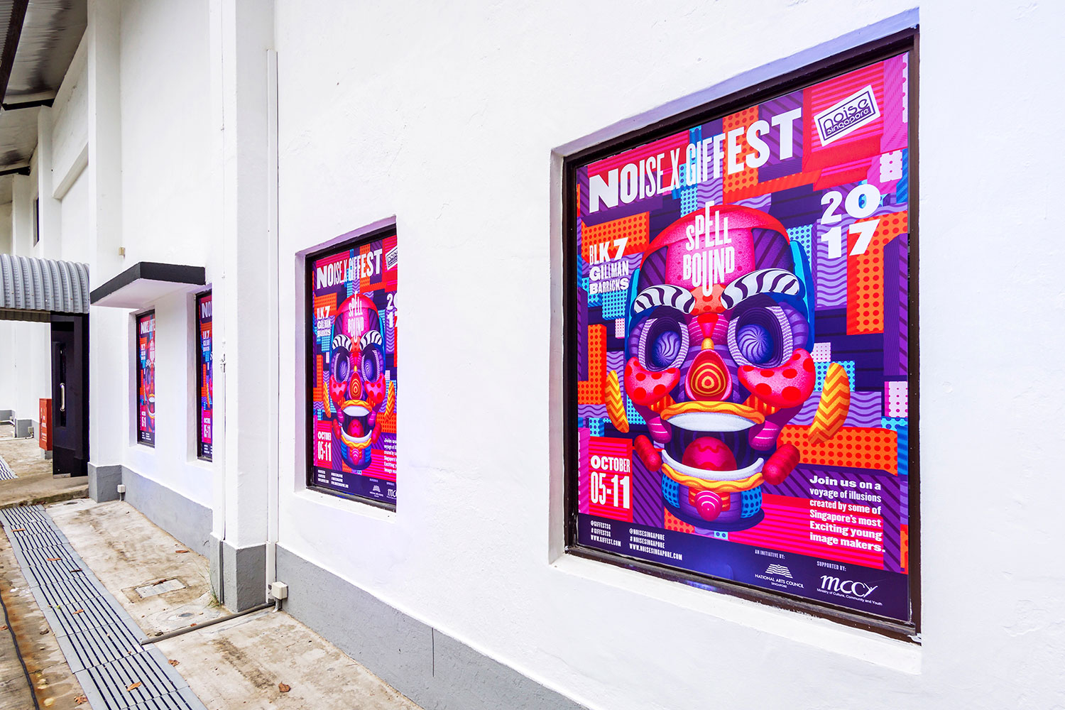 GIF Fest SG branding identity - Exhibition posters on the exterior of the event venue at Gillman Barracks, Singapore. Photography by BÜRO UFHO.