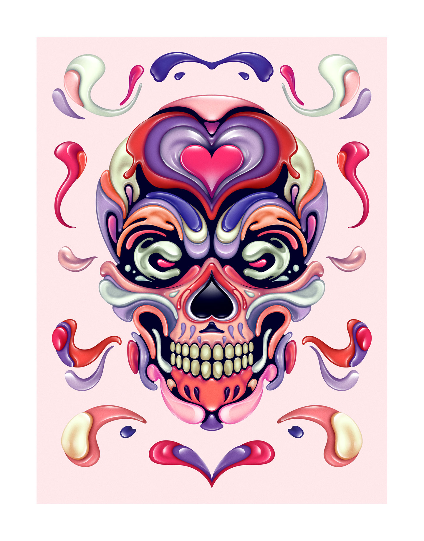 Fluid Skull illustration graphic design by Singapore based brand strategy and creative design consultancy, BÜRO UFHO.