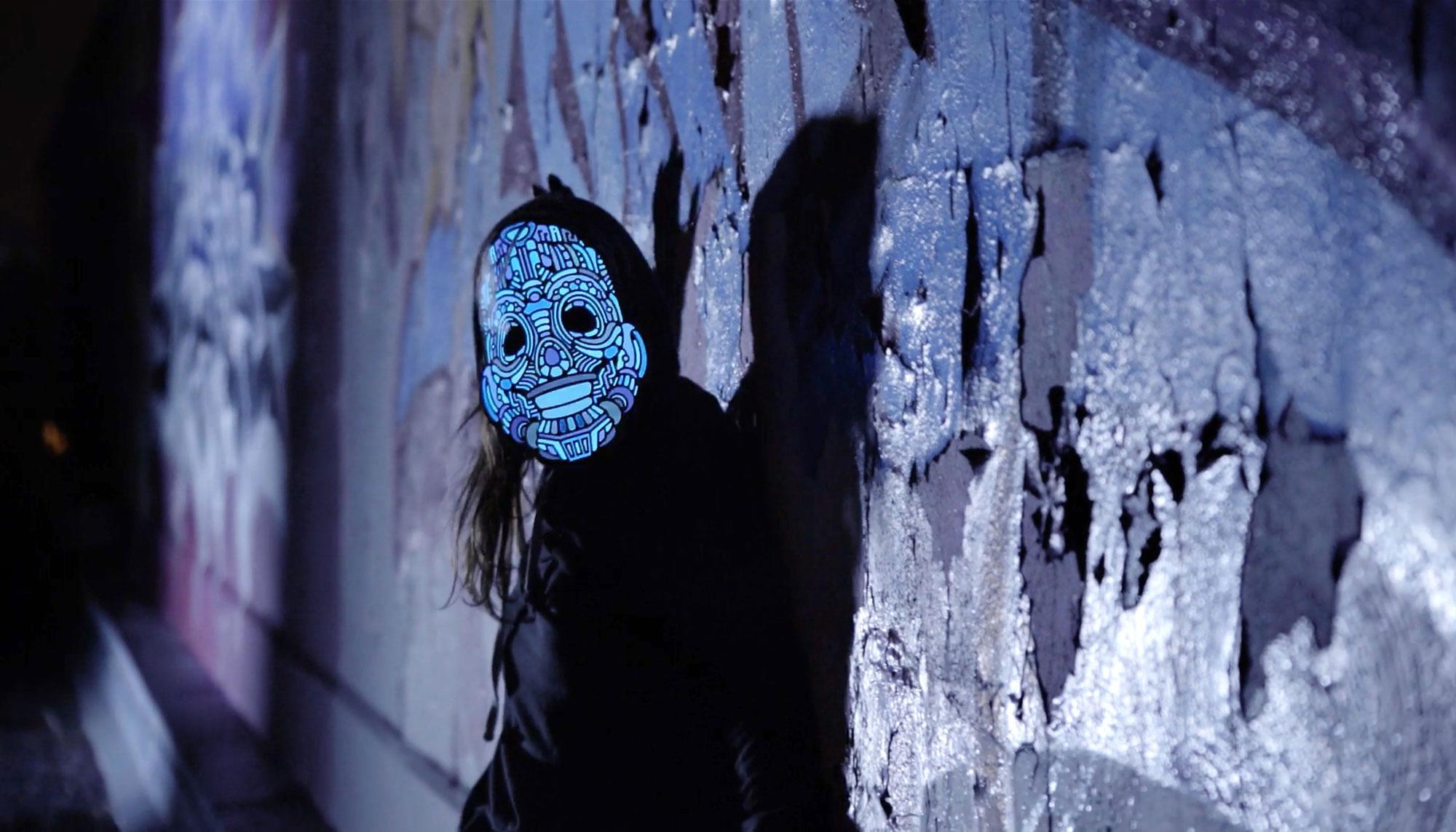 Kickstarter LED light up graphic mask design - Y,Robot.
