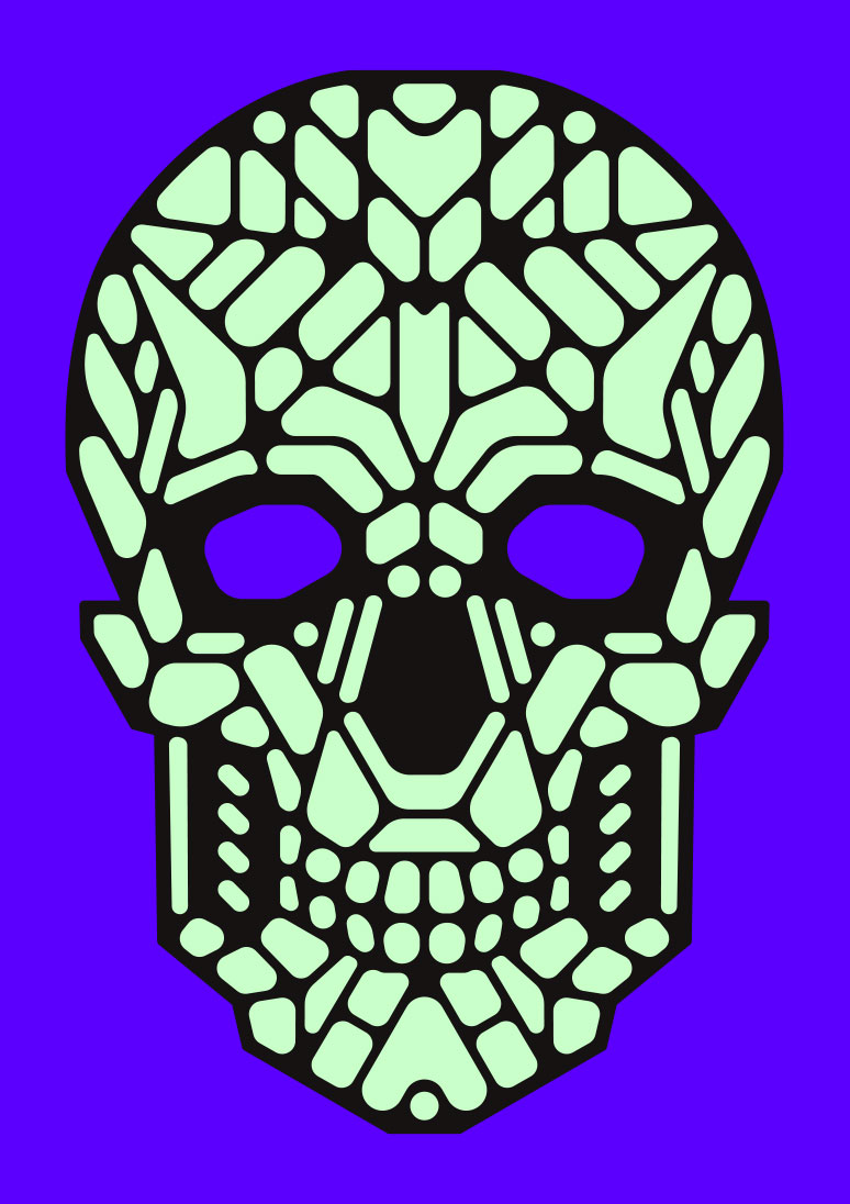 Kickstarter Cool LED light up mask Glow-in-the-dark Skull graphic design by Singapore based brand strategy and creative design consultancy, BÜRO UFHO.