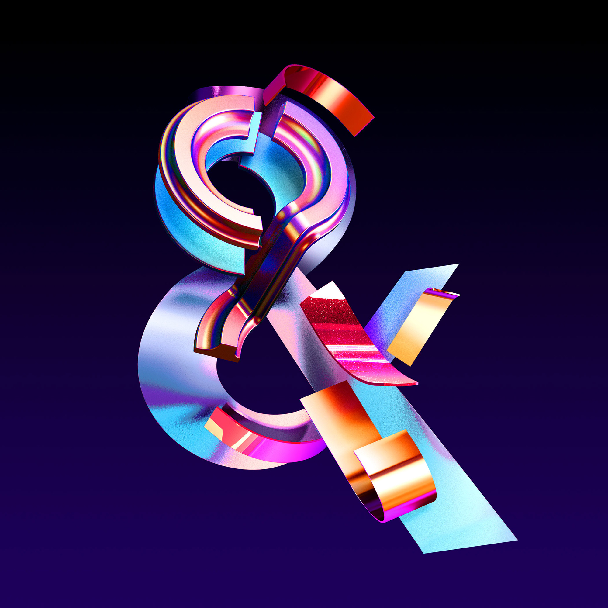 Adobe Ampersands - 3D ampersand lettering visual designs version 1 by Singapore based brand strategy and creative design consultancy, BÜRO UFHO.