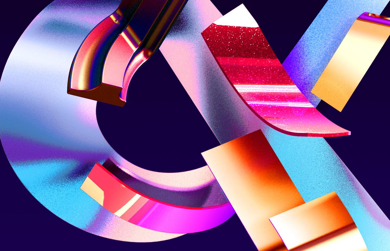 Adobe Ampersands - 3D ampersand lettering visual designs version 1 detail closeup.