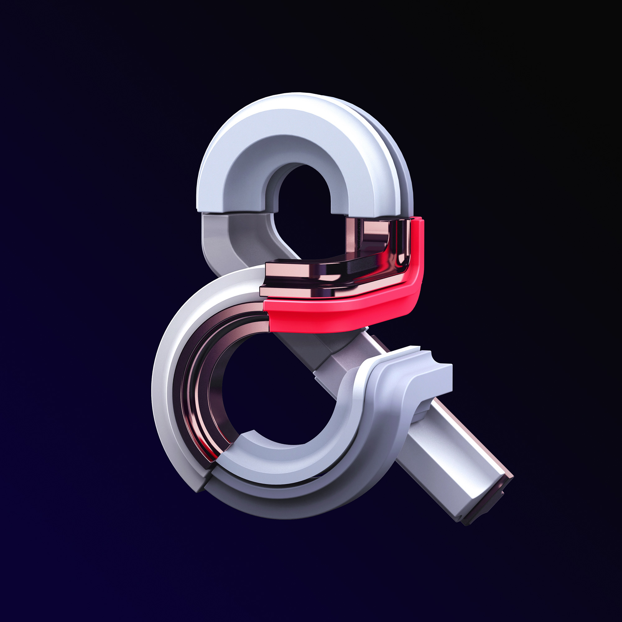 Adobe Ampersands - 3D ampersand lettering visual designs version 2 by Singapore based brand strategy and creative design consultancy, BÜRO UFHO.