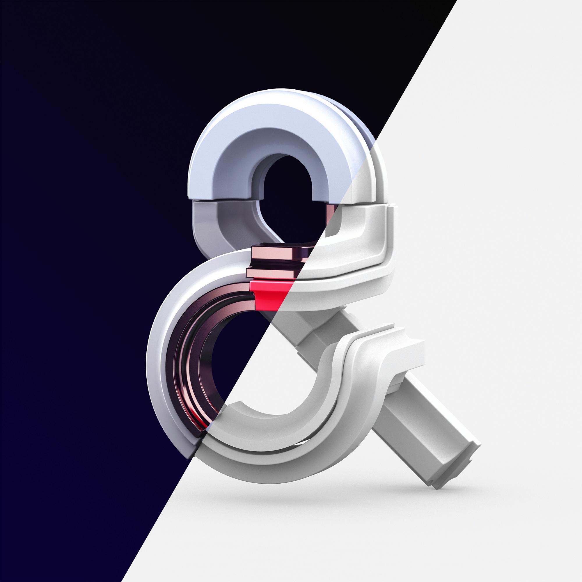 Adobe Ampersands - 3D ampersand lettering visual designs version 2 clay model vs final.