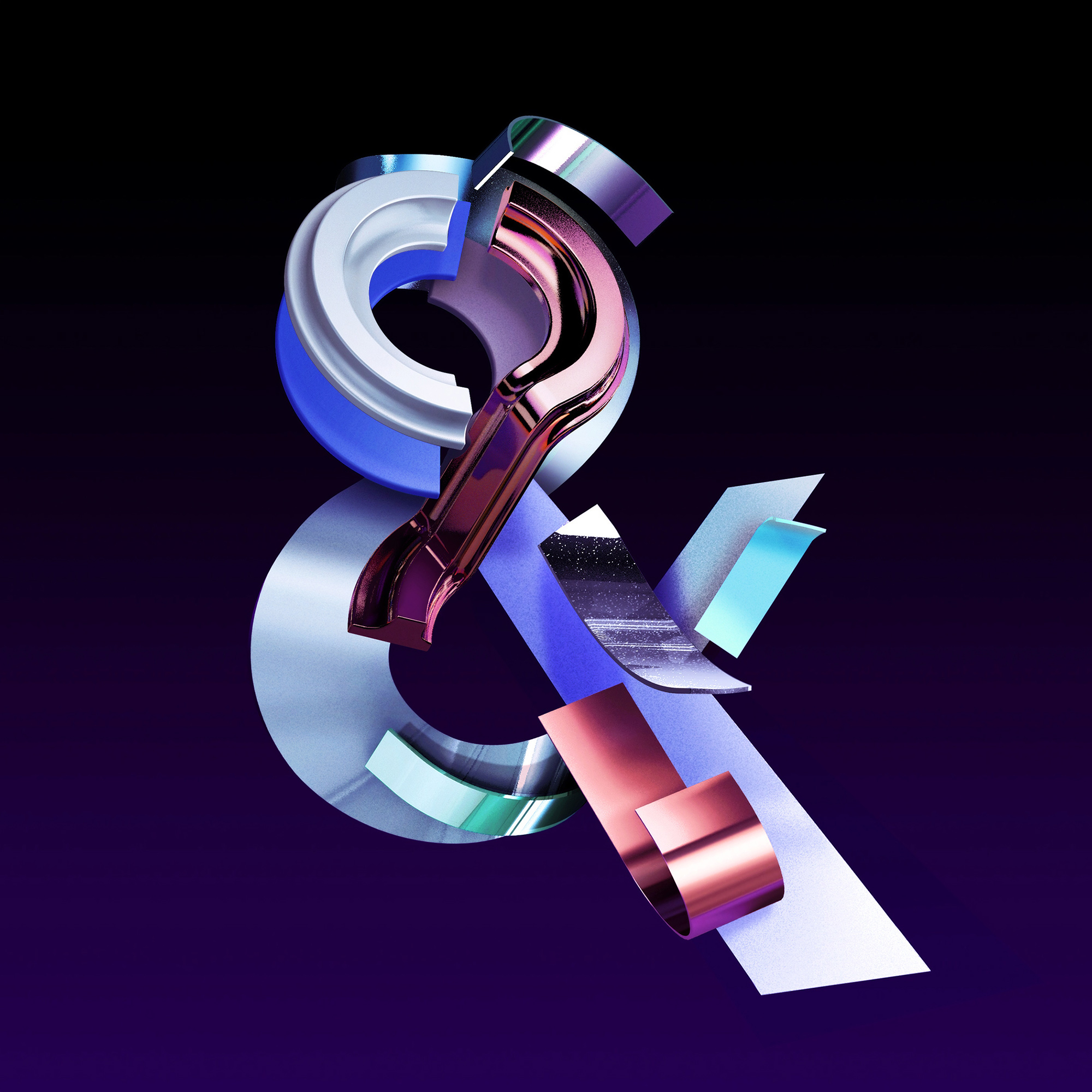 Adobe Ampersands - 3D ampersand lettering visual designs version 1 - alternate color.