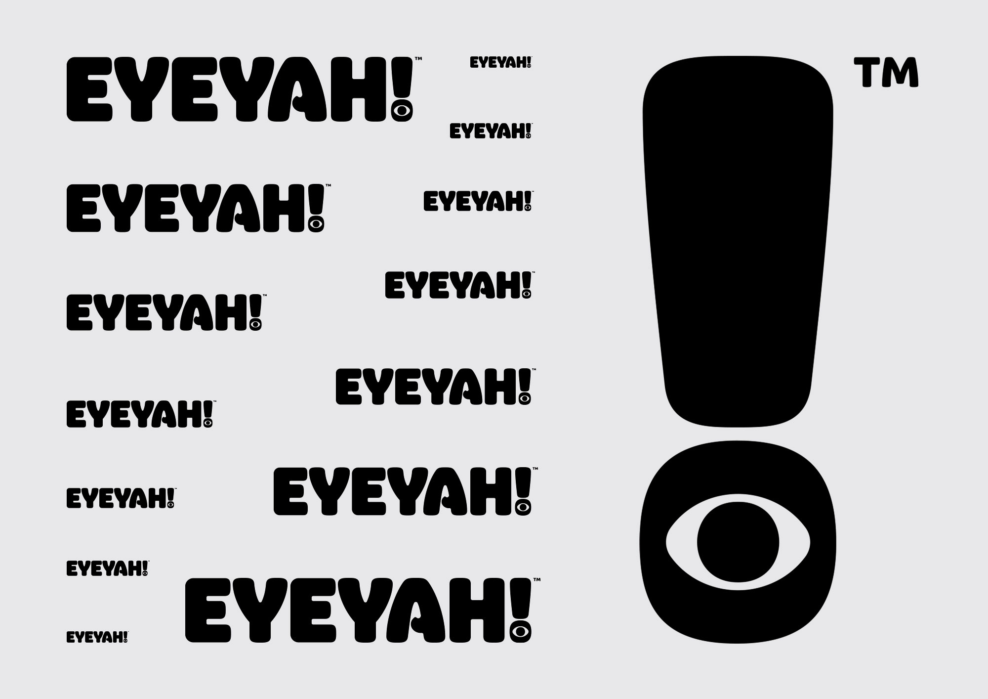 Identity design for EYEYAH! logo legibility at different scale.