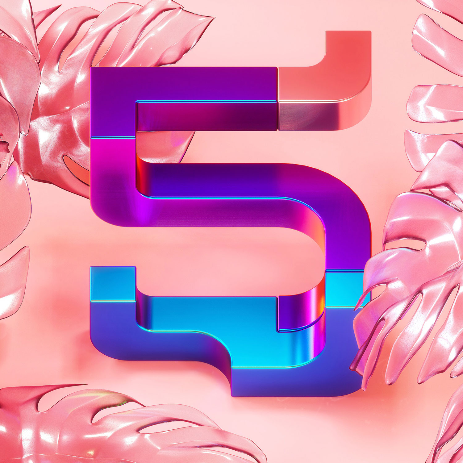 36 Days of Type 2018 - 3D typography number 5 visual.