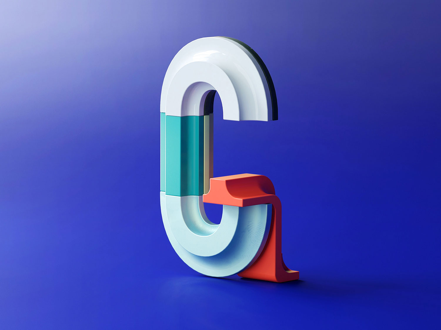 36 Days of Type 2018 - 3D letter G visual.