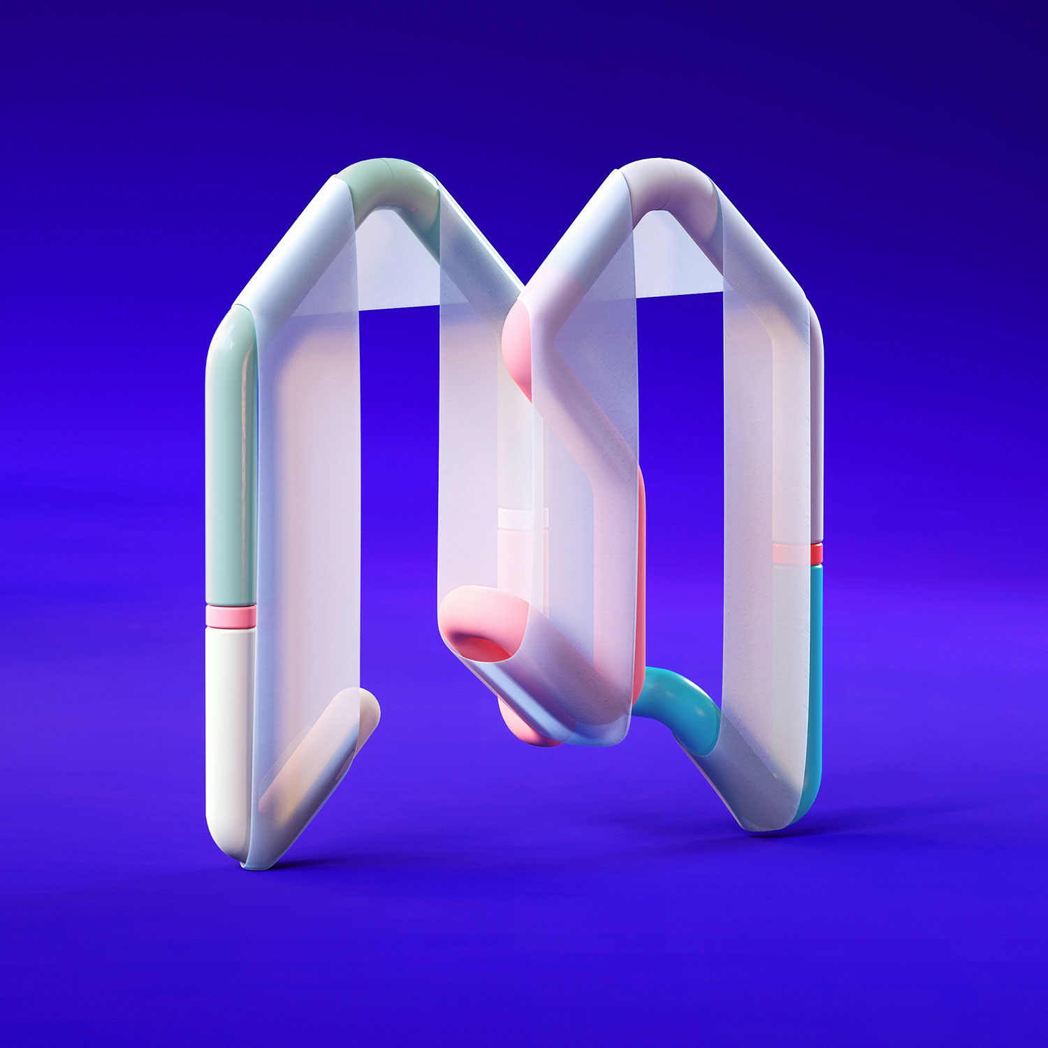 36 Days of Type 2018 - 3D letter M visual.