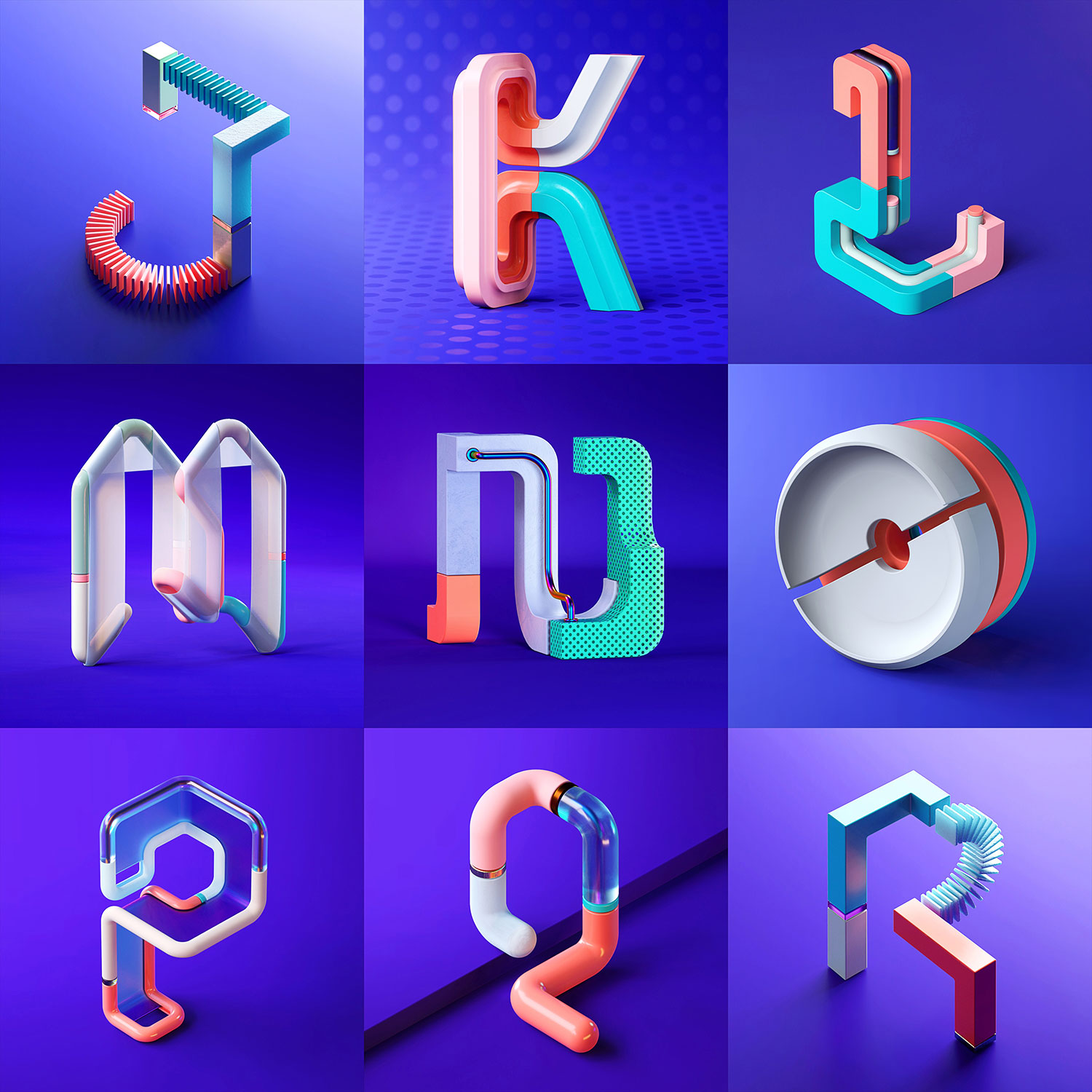 36 Days of Type 2018 - 3D letter J to R visuals by Singapore based brand strategy and creative design consultancy, BÜRO UFHO.