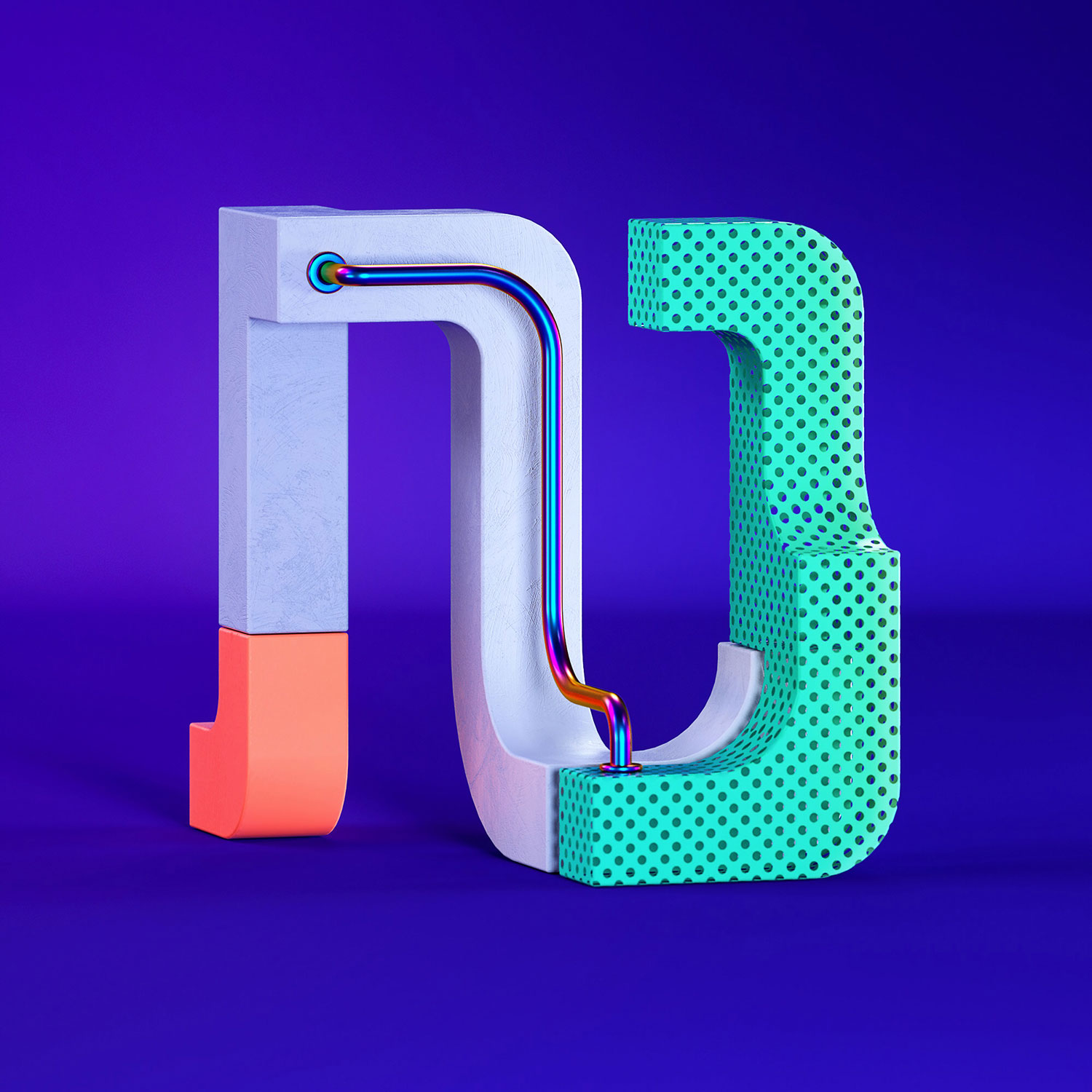 36 Days of Type 2018 - 3D letter N visual.