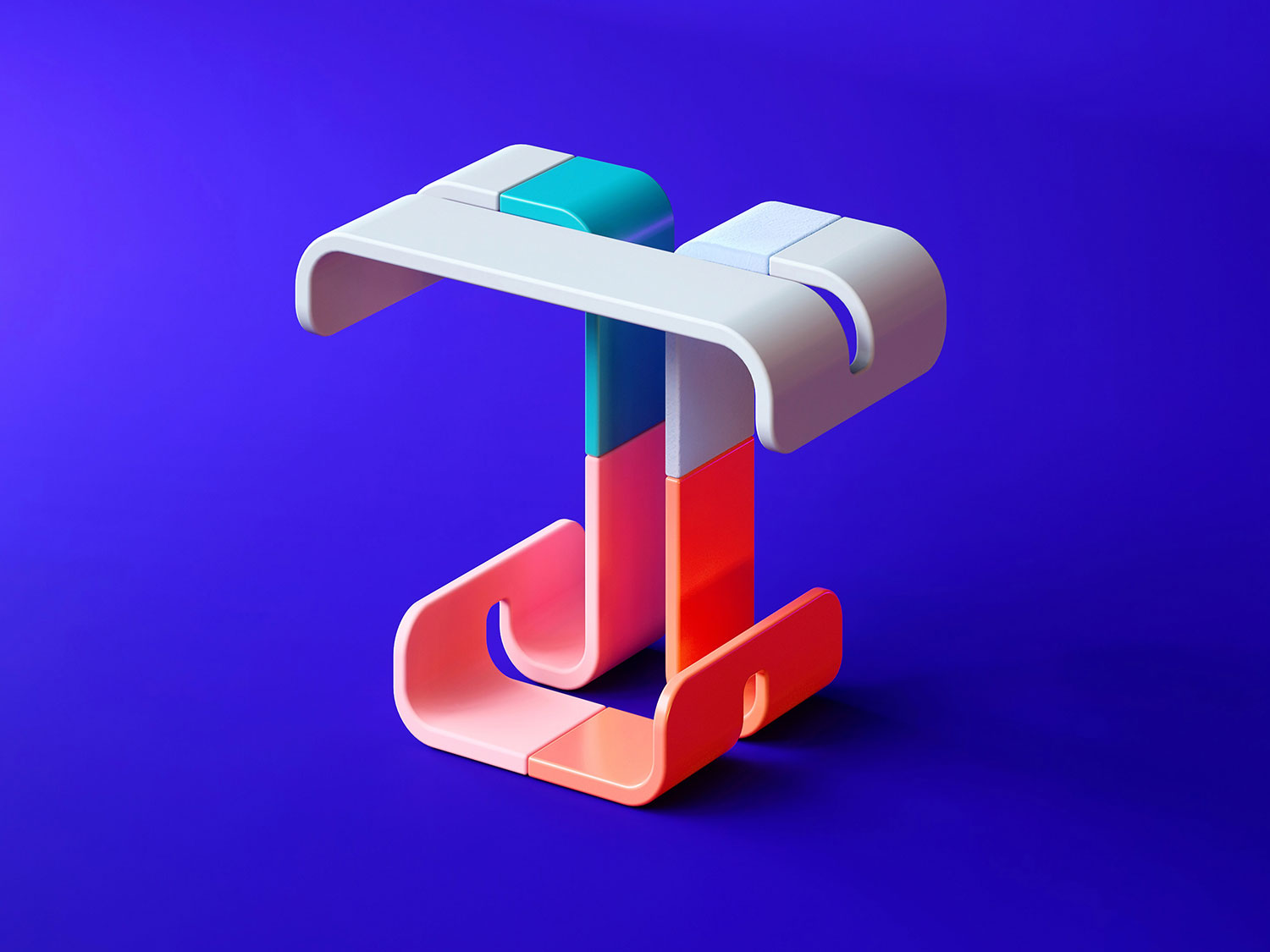 36 Days of Type 2018 - 3D letter T visual.