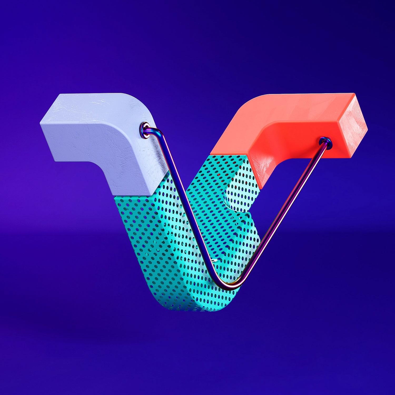 36 Days of Type 2018 - 3D letter V visual.
