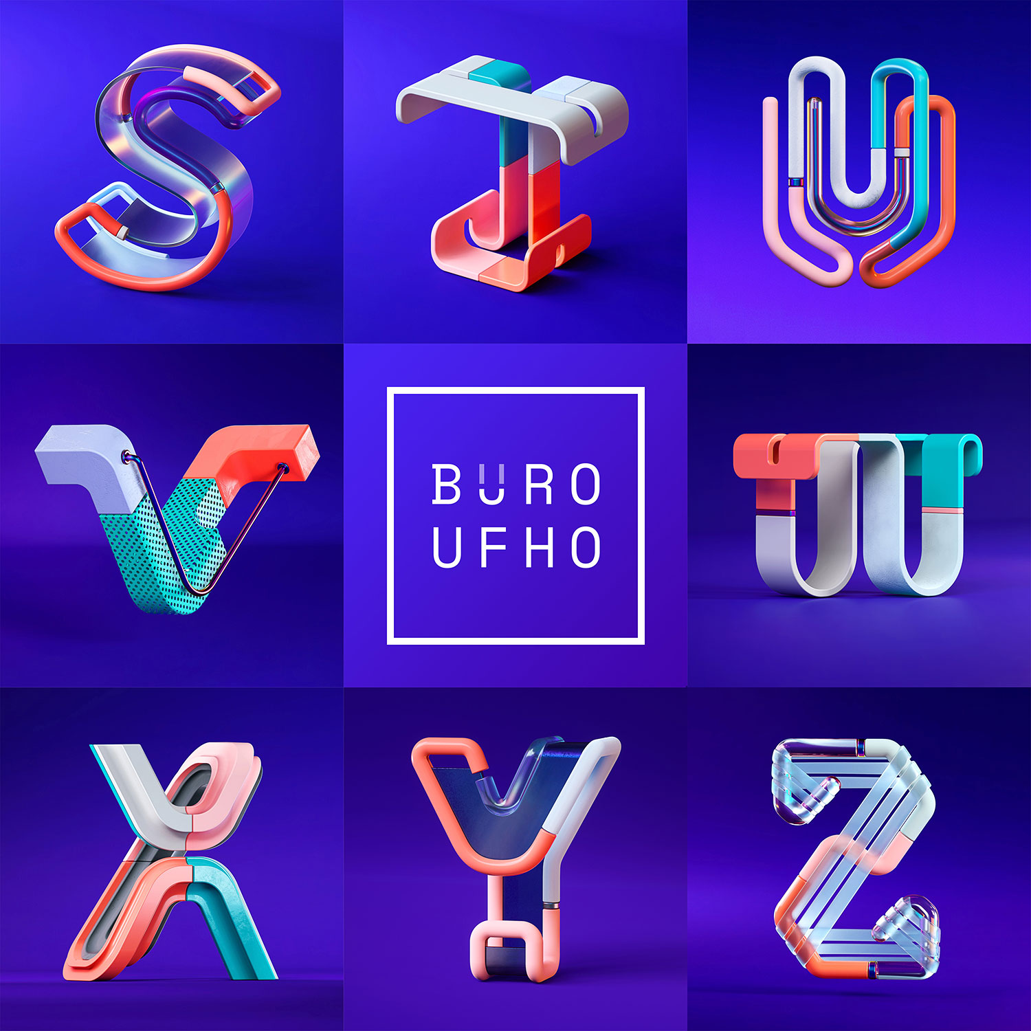 36 Days of Type 2018 - 3D letter S to Z visuals by Singapore based brand strategy and creative design consultancy, BÜRO UFHO.
